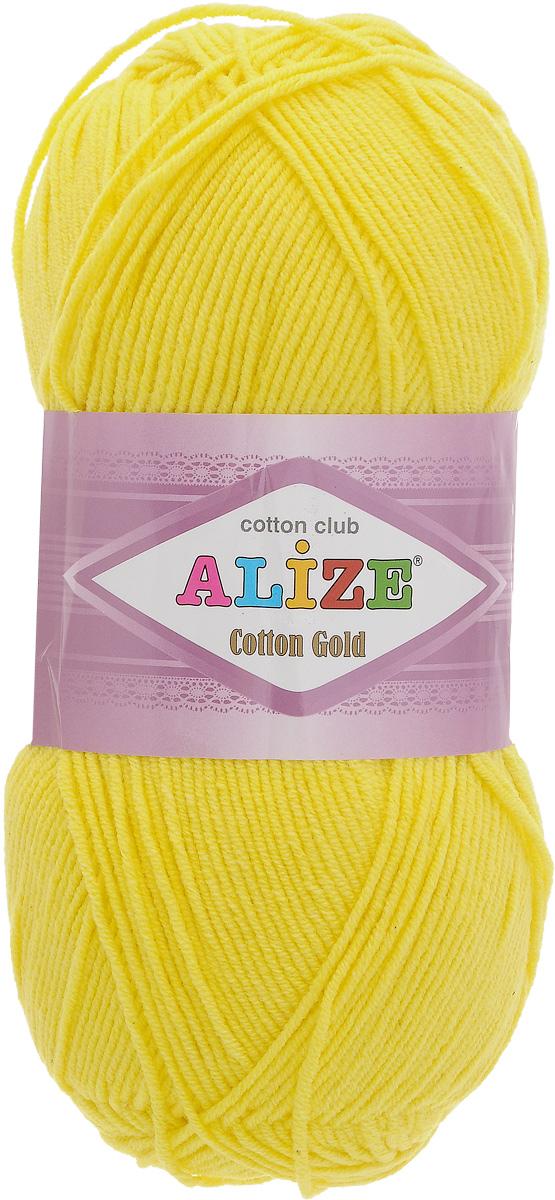 Пряжа для вязания Alize Cotton Gold, цвет: желтый (110), 330 м, 100 г, 5 шт697548_110Пряжа для вязания Alize Cotton Gold - это классическая демисезонная пряжа из хлопка с акрилом. Данная пряжа отлично подойдет для изделий осень-весна. Также подходит для вязания летних вещей взрослым и детям. Мягкая и бархатистая на ощупь. Полотно получается пластичным, мягким, все переплетения ровные. Состав: 55% хлопок, 45% акрил. Рекомендуемый размер спиц: № 3,5 - 5. Рекомендуемый размер крючка: № 2 - 4.