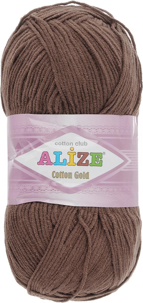Пряжа для вязания Alize Cotton Gold, цвет: коричневый (493), 330 м, 100 г, 5 шт697548_493Пряжа для вязания Alize Cotton Gold - это классическая демисезонная пряжа из хлопка с акрилом. Данная пряжа отлично подойдет для изделий осень-весна. Также подходит для вязания летних вещей взрослым и детям. Мягкая и бархатистая на ощупь. Полотно получается пластичным, мягким, все переплетения ровные. Состав: 55% хлопок, 45% акрил. Рекомендуемый размер спиц: № 3,5 - 5. Рекомендуемый размер крючка: № 2 - 4.