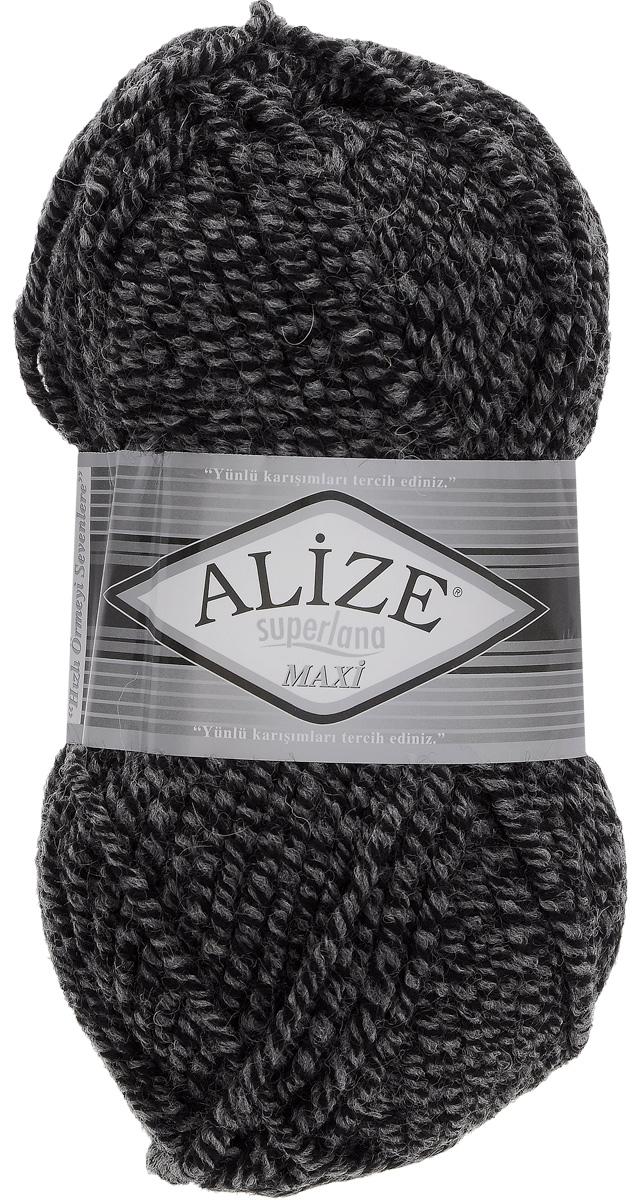 Пряжа для вязания Alize Superlana Maxi, цвет: черный, серый (600), 100 м, 100 г, 5 шт364131_600Пряжа Alize Superlana Maxi обладает плотной скруткой (немного напоминает шнурок), при этом нить мягкая, чуть упругая. Благодаря составу и скрутке петли отлично ложатся одна к другой, вязаное полотно получается ровное и однородное. Пряжа с умеренным, недлинным ворсом, отлично ложится в узор и держит его. Мягкая, очень комфортная как для работы, так и для носки. В качестве моделей для вязки можно рекомендовать плотные вещи: пальто, осенние длинные кардиганы, пончо, болеро, мужские свитера. Рассчитана на любой уровень мастерства, но особенно понравится начинающим мастерицам - благодаря толстой нити пряжа Alize Superlana Maxi позволяет быстро связать простую вещь. Структура и состав пряжи максимально комфортны для вязания. Рекомендуемый размер спиц: № 8-10 мм. Состав: 75% акрил, 25% шерсть.