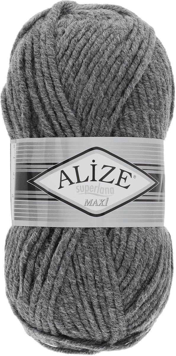 Пряжа для вязания Alize Superlana Maxi, цвет: темно-серый (182), 100 м, 100 г, 5 шт364131_182Пряжа Alize Superlana Maxi обладает плотной скруткой (немного напоминает шнурок), при этом нить мягкая, чуть упругая. Благодаря составу и скрутке петли отлично ложатся одна к другой, вязаное полотно получается ровное и однородное. Пряжа с умеренным, недлинным ворсом, отлично ложится в узор и держит его. Мягкая, очень комфортная как для работы, так и для носки. В качестве моделей для вязки можно рекомендовать плотные вещи: пальто, осенние длинные кардиганы, пончо, болеро, мужские свитера. Рассчитана на любой уровень мастерства, но особенно понравится начинающим мастерицам - благодаря толстой нити пряжа Alize Superlana Maxi позволяет быстро связать простую вещь. Структура и состав пряжи максимально комфортны для вязания. Рекомендуемый размер спиц: № 8-10 мм. Состав: 75% акрил, 25% шерсть.