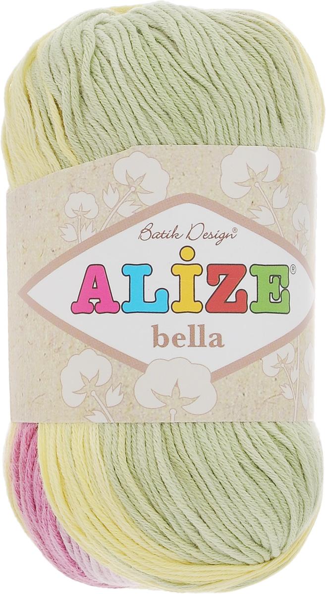 Пряжа для вязания Alize Bella Batik, цвет: розовый, зеленый, желтый (4591), 180 м, 50 г, 5 шт364125_4591Пряжа Alize Bella Batik подходит для ручного вязания детям и взрослым. Пряжа секционного крашения, мягкая и приятная на ощупь, хорошо лежит в полотне. Мягкая и красивая нить в процессе вязания превращается в оригинальный узор. Состав: 100% хлопок. Рекомендованные спицы 2-4 мм и крючок для вязания 1-3 мм. Комплектация: 5 мотков.