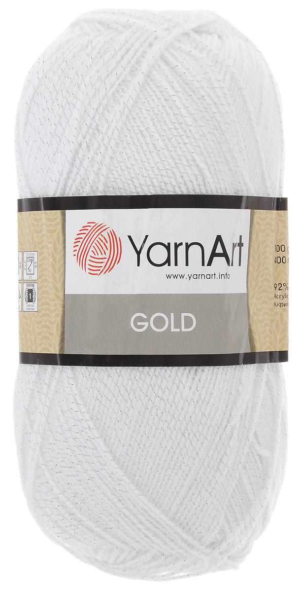 Пряжа для вязания YarnArt Gold, цвет: белый, серебряный, 400 м, 100 г, 5 шт пряжа для вязания yarnart baby color цвет белый черный 273 150 м 50 г 5 шт