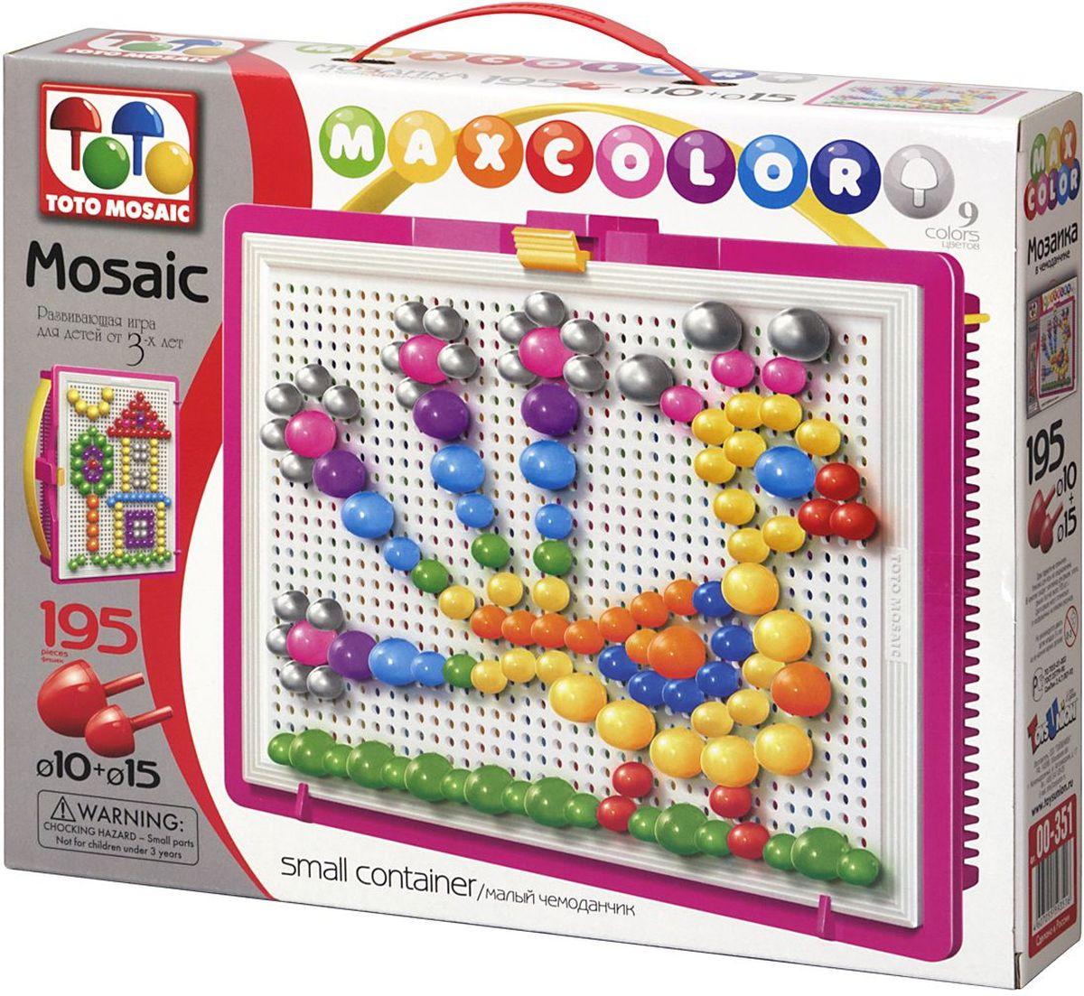 Toto Mosaic Мозаика Жар-птица00-351Мозаика «MAXCOLOR» Smal container – яркая, увлекательная, развивающая игра для детей от 3-х лет и старше. Она способствует развитию творческих способностей ребенка, его воображения, внимания, усидчивости, умению доводить начатое дело до конца, а так же координации и моторики движения рук. Все эти качества делают мозаику незаменимым пособием для успешной подготовки ребят 3-5 лет к началу обучения в школе. Комплектация «MAXCOLOR» ФИШКИ Игра комплектуется фишками различного размера (o 20, o 15, o 10, o 5) округлой формы, которые удобно и приятно держать в руках, поэтому с ними справится даже самый крохотный малыш. Фишки o 20 рассчитаны на самых маленьких игроков. Так же, в этой серии имеются наборы, комплектуемые треугольными и квадратными фишками. Они рассчитаны на детей постарше. ПЛАТА Все фишки легко крепятся и легко снимаются с игрового поля – платы, которая позволяет малышу не ограничивать свои движения при складывании мозаики. Её оригинальная конструкция...