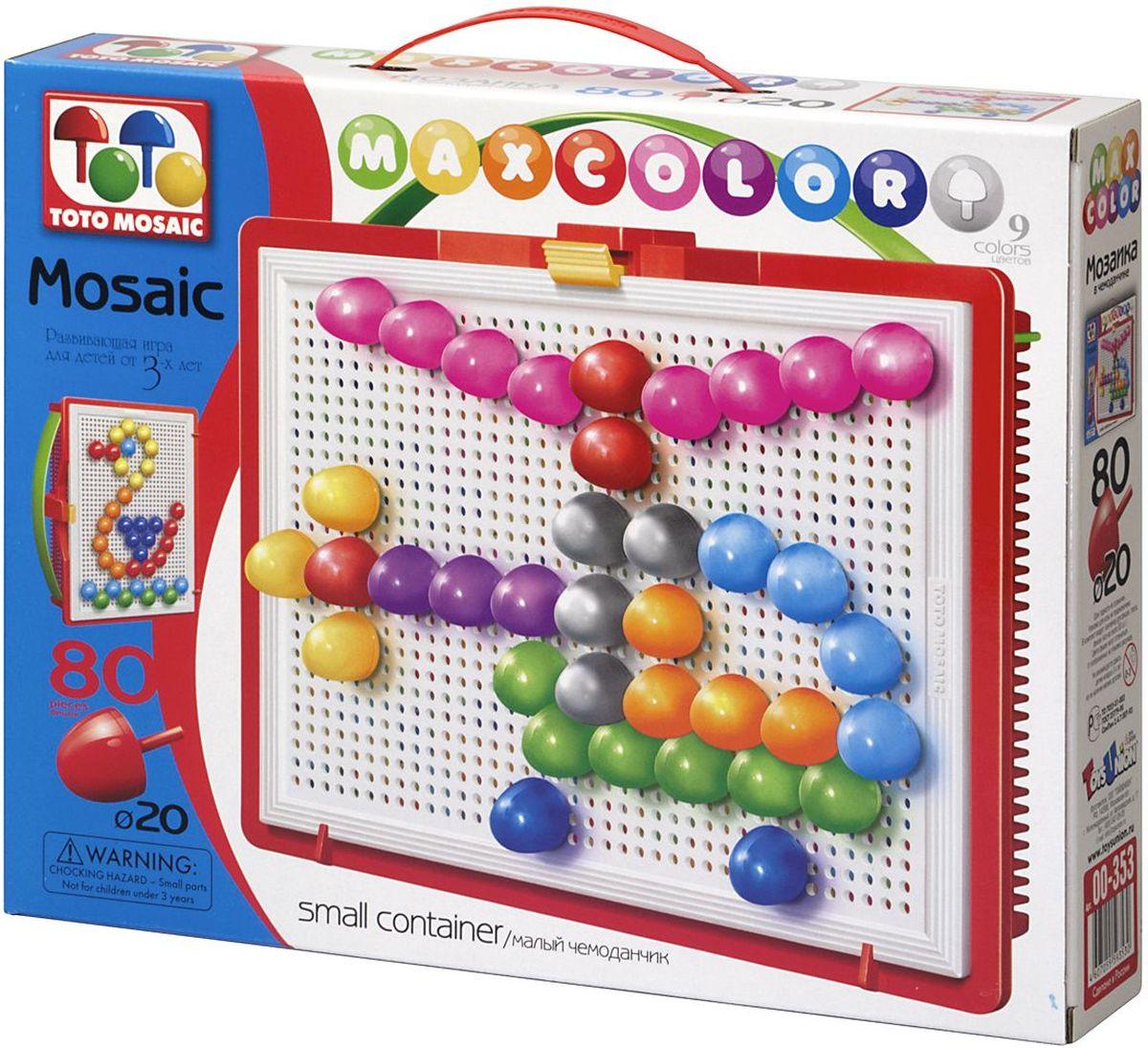 Toto Mosaic Мозаика В облаках00-353Мозаика «MAXCOLOR» Smal container – яркая, увлекательная, развивающая игра для детей от 3-х лет и старше. Она способствует развитию творческих способностей ребенка, его воображения, внимания, усидчивости, умению доводить начатое дело до конца, а так же координации и моторики движения рук. Все эти качества делают мозаику незаменимым пособием для успешной подготовки ребят 3-5 лет к началу обучения в школе. Комплектация «MAXCOLOR» ФИШКИ Игра комплектуется фишками различного размера (o 20, o 15, o 10, o 5) округлой формы, которые удобно и приятно держать в руках, поэтому с ними справится даже самый крохотный малыш. Фишки o 20 рассчитаны на самых маленьких игроков. Так же, в этой серии имеются наборы, комплектуемые треугольными и квадратными фишками. Они рассчитаны на детей постарше. ПЛАТА Все фишки легко крепятся и легко снимаются с игрового поля – платы, которая позволяет малышу не ограничивать свои движения при складывании мозаики. Её оригинальная конструкция...