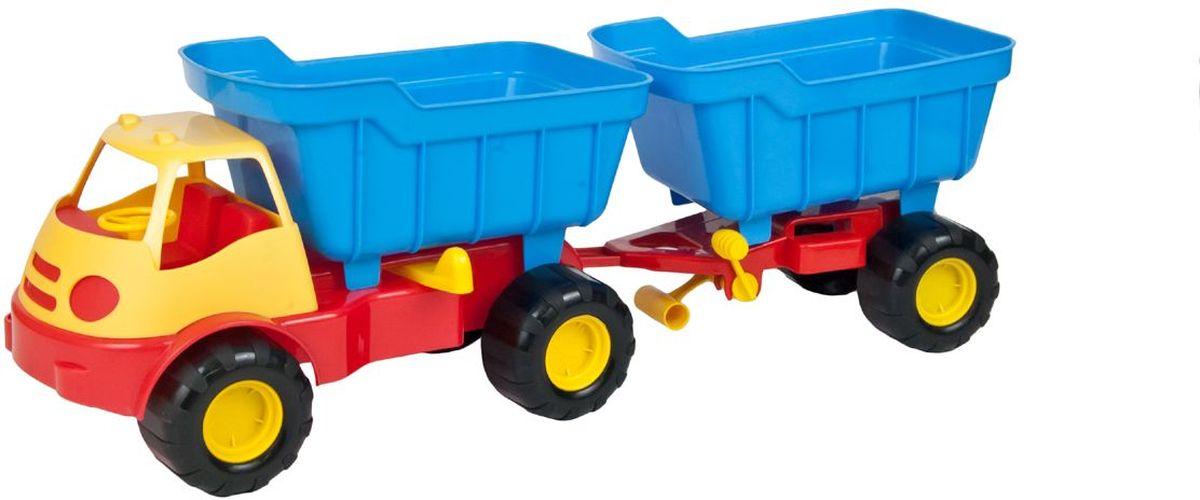 Zebratoys Автомобиль самосвал с прицепом ACTIVE15-5310Самосвал с прицепом Zebratoys, изготовленный из прочного и безопасного материала, станет любимой игрушкой вашего малыша. Изделие представляет собой самосвал с прицепом. Прицеп может отсоединяться от самосвала. Ребристые колеса обеспечивают прочное сцепление с дорогой, не давая скользить технике по полу. Самосвал с прицепом станет отличным подарком для вашего ребенка. Функциональность игрушки дает возможность ребёнку окунуться с головой в игровой процесс. А высокое качество нашей игрушки позволяет наслаждаться любимой игрой в полной мере и в любое время года. Порадуйте свою кроху таким ярким подарком!