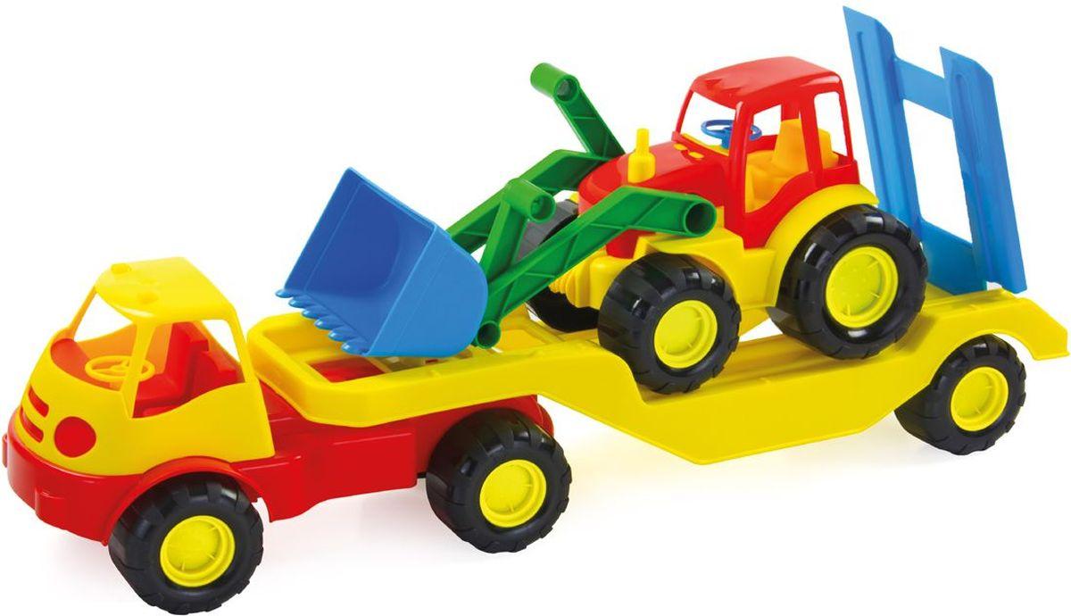 Zebratoys Автомобиль с платформой и трактором15-5338Автомобиль с прицепом Zebratoys привлечет внимание вашего ребенка и станет его любимой игрушкой. Изделие выполнено из безопасного материала. Машина и трактор снабжены устойчивыми колесами со свободным ходом. Функциональность игрушки дает возможность ребёнку окунуться с головой в игровой процесс. А высокое качество нашей игрушки позволяет наслаждаться любимой игрой в полной мере и в любое время года. Ваш маленький строитель увлеченно будет играть с таким трактором, придумывая различные истории. Порадуйте его таким замечательным подарком!