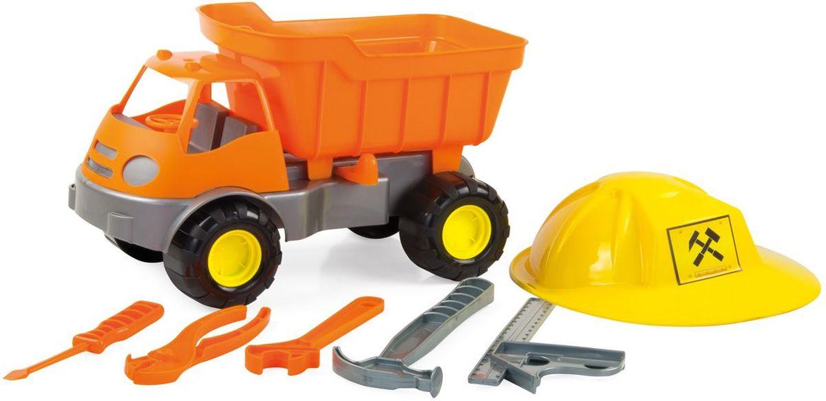 Zebratoys Самосвал c каской и инструментами15-10688Самосвал Zebratoys Active станет прекрасным подарком для ребенка. Игрушка выполнена из прочного высококачественного материала с металлическими элементами. Самосвал имеет просторный кузов, который можно наполнить песком или важным игрушечным грузом. Кузов игрушки откидывается, что предоставит малышу дополнительный простор для игры. Все элементы машинки имеют увеличенные размеры, что удобно для маленьких ручек ребенка. В комплекте каска для маленького строителя и набор инструментов. Игры с такой машинкой развивают концентрацию внимания, координацию движений, мелкую моторику рук, цветовое восприятие и воображение. Малыш будет с удовольствием играть с этим самосвалом, придумывая различные истории.