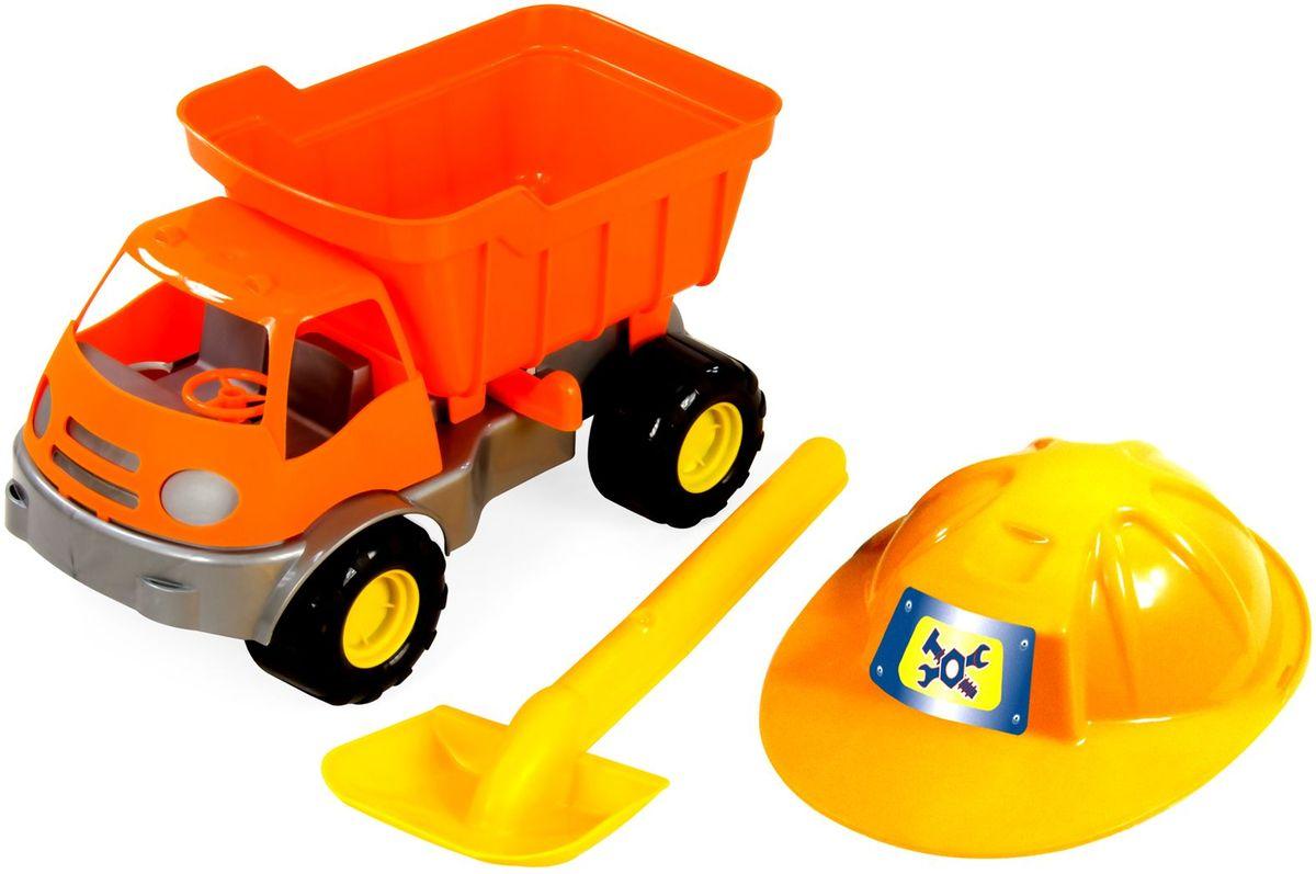 Zebratoys Самосвал c каской и лопатой15-10592Самосвал с каской и лопатой это замечательный набор для игры в песочнице, ваш ребенок окунётся в игровой процесс и получит истинное удовольствие.