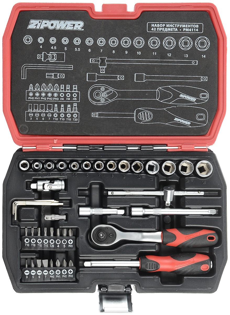 Набор инструментов Zipower, 42 предметаPM 4114Тщательно подобранный ассортимент инструмента Zipower удовлетворит запросы и начинающего автовладельца, и профессионального механика. Применение специальной технологии закалки и термической обработки хромованадиевой стали гарантирует высокую прочность инструмента, его износоустойчивость при интенсивном использовании. Двухкомпонентные рукоятки обеспечивают комфорт во время выполнения работ. В комплекте пластиковый кейс для переноски и хранения. Состав набора: Головка торцевая шестигранная 1/4: 4, 4,5, 5, 5,5, 6, 7, 8, 9, 10, 11, 12, 13, 14 мм. Трещотка 1/4. Рукоятка скользящая Т-образная 1/4: 11,5 см. Удлинитель 1/4: 5 см, 10 см. Шарнир карданный 1/4. Рукоятка отверточная 1/4: 15 см. Адаптер 25 мм. Переходник. Набор бит: PH0, PH1, 2 x PH2, PH3, H4, H5, 2 x T10, 2 x T15, T20, SL3, SL5, SL6, SL7. Ключ угловой шестигранный: 1,27, 1,5, 2, 2,5, 3 мм.