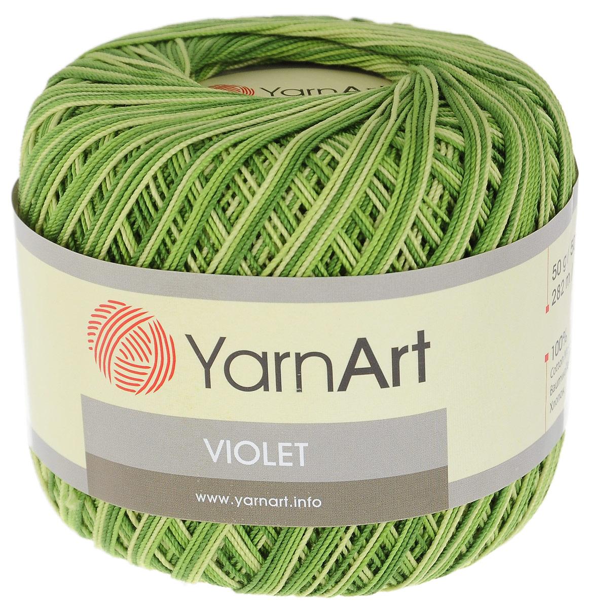 Пряжа для вязания YarnArt Violet, цвет: зеленый, салатовый (0188), 282 м, 50 г, 6 шт пряжа для вязания yarnart baby color цвет белый черный 273 150 м 50 г 5 шт