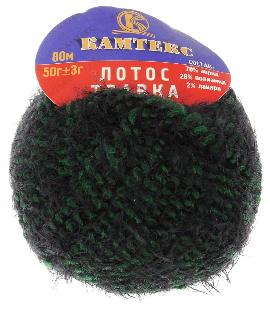 Пряжа для вязания Камтекс Лотос травка стрейч, цвет: темно-зеленый, черный (197), 80 м, 50 г, 10 шт136081_197Пряжа для вязания Камтекс Лотос травка стрейч имеет интересный и необычный состав: 70% акрил, 28% полиамид, 2% лайкра. Акрил отвечает за мягкость, полиамид за прочность и формоустойчивость, а лайкра делает полотно необыкновенно эластичным. Эта волшебная плюшевая ниточка удивляет своей мягкостью, вяжется очень просто и быстро, ворсинки не путаются. Из этой пряжи получатся замечательные мягкие игрушки, которые будут не только приятны, но и абсолютно безопасны для маленьких детей. А яркие и сочные оттенки подарят ребенку радость и хорошее настроение. Рекомендуемый размер крючка и спиц: №3-6. Состав: 70% акрил, 28% полиамид, 2% лайкра.