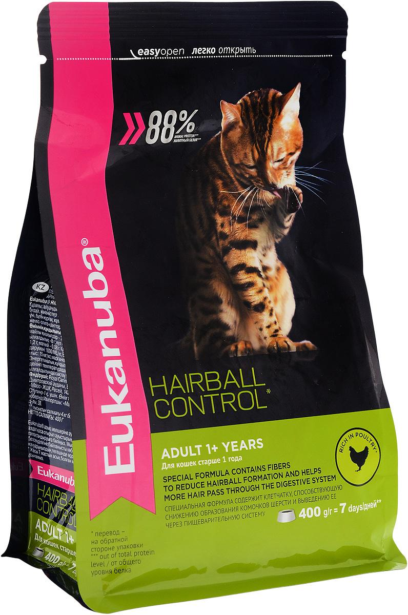 """Корм сухой Eukanuba """"Heirball Control"""", для взрослых кошек, живущих в помещении, для профилактики образования комков шерсти, с домашней"""