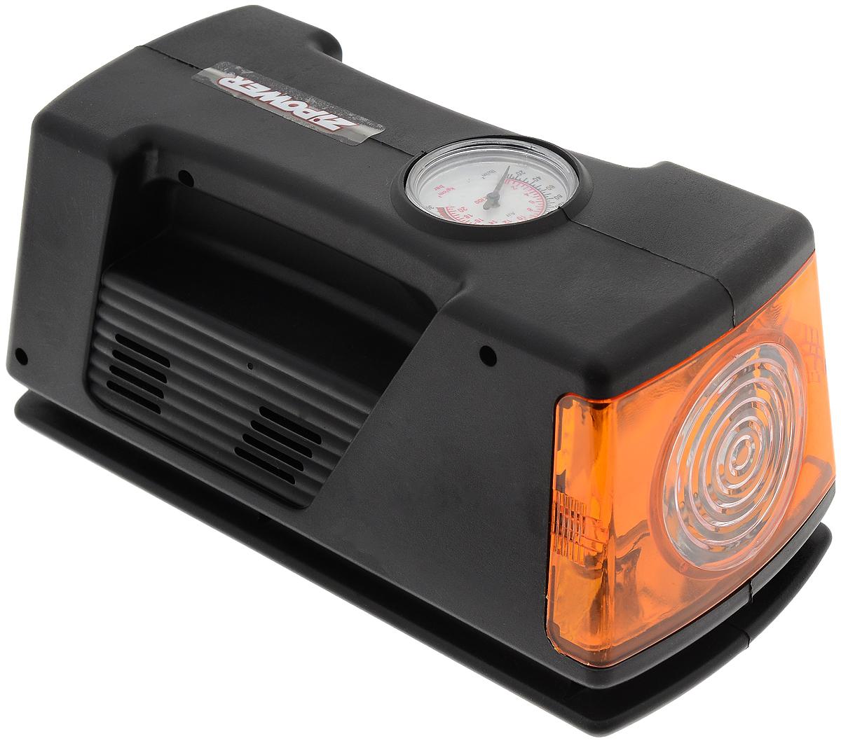 Компрессор автомобильный Zipower, с манометром и фонаремPM 0602Автомобильный компрессор Zipower позволяет накачать колесо автомобиля или же проверить в нем давление. Встроенный фонарь позволяет производить работы в темное время суток. Оснащен проблесковым маячком. Подключается к бортовой сети автомобиля. Контроль за давлением осуществляется при помощи встроенного манометра. Напряжение: 12 В Максимальное давление: 21 атм. Производительность: 10 л/мин. Диапазон работы манометра: 0–5 атм. Насадки: 3 шт.