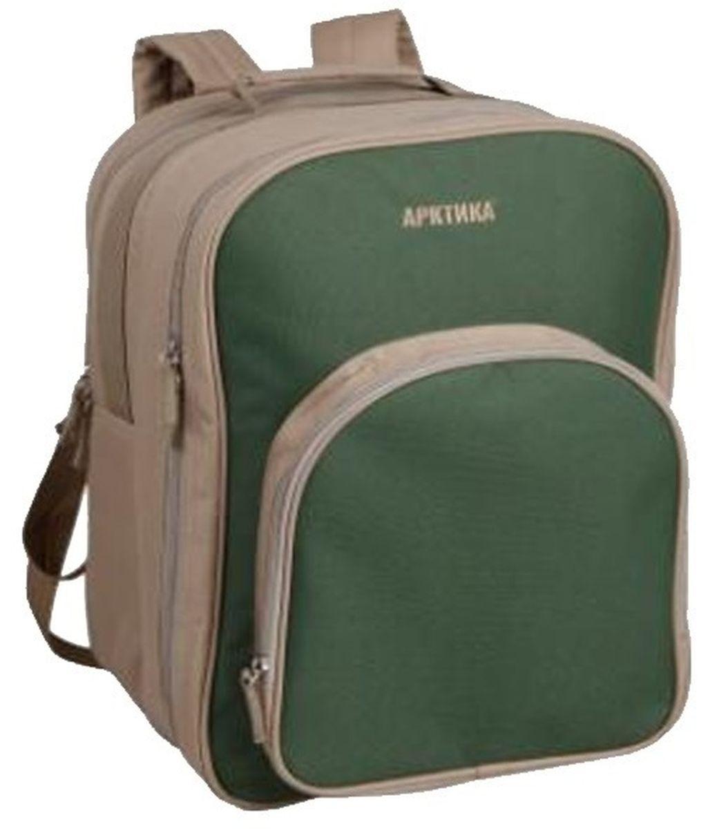 Рюкзак-холодильник Арктика, цвет: зеленый4300-4 рюкзак зелёныйДля любителей пеших горных прогулок на длительные расстояния, рюкзак-холодильник Арктика 4300-4 будет настоящей находкой. Удобные ручки с мягкими подушечками не доставят дискомфорта во время пути. Наружный слой изготовлен из прочного полиэстера, которой предотвратит попадание влаги и нагревание от солнечных лучей. Внутренний слой из экологичного водонепроницаемого материала. Все материалы легко поддаются очищению от загрязнений сухим или влажным способом. Продолжительность сохранения теплой или холодной температуры составляет до 10 часов. Вместимость рюкзака 11 литров позволяет взять необходимый запас продуктов и воды. Входящий набор посуды будет приятным и нужным дополнением для вашего путешествия. В нем есть все необходимое для полноценного пикника. Посуда находиться в специальном отсеке и прикреплена ремешками. Арктика 4300-4 – это качество и гарантия изделия в доступной ценовой категории.