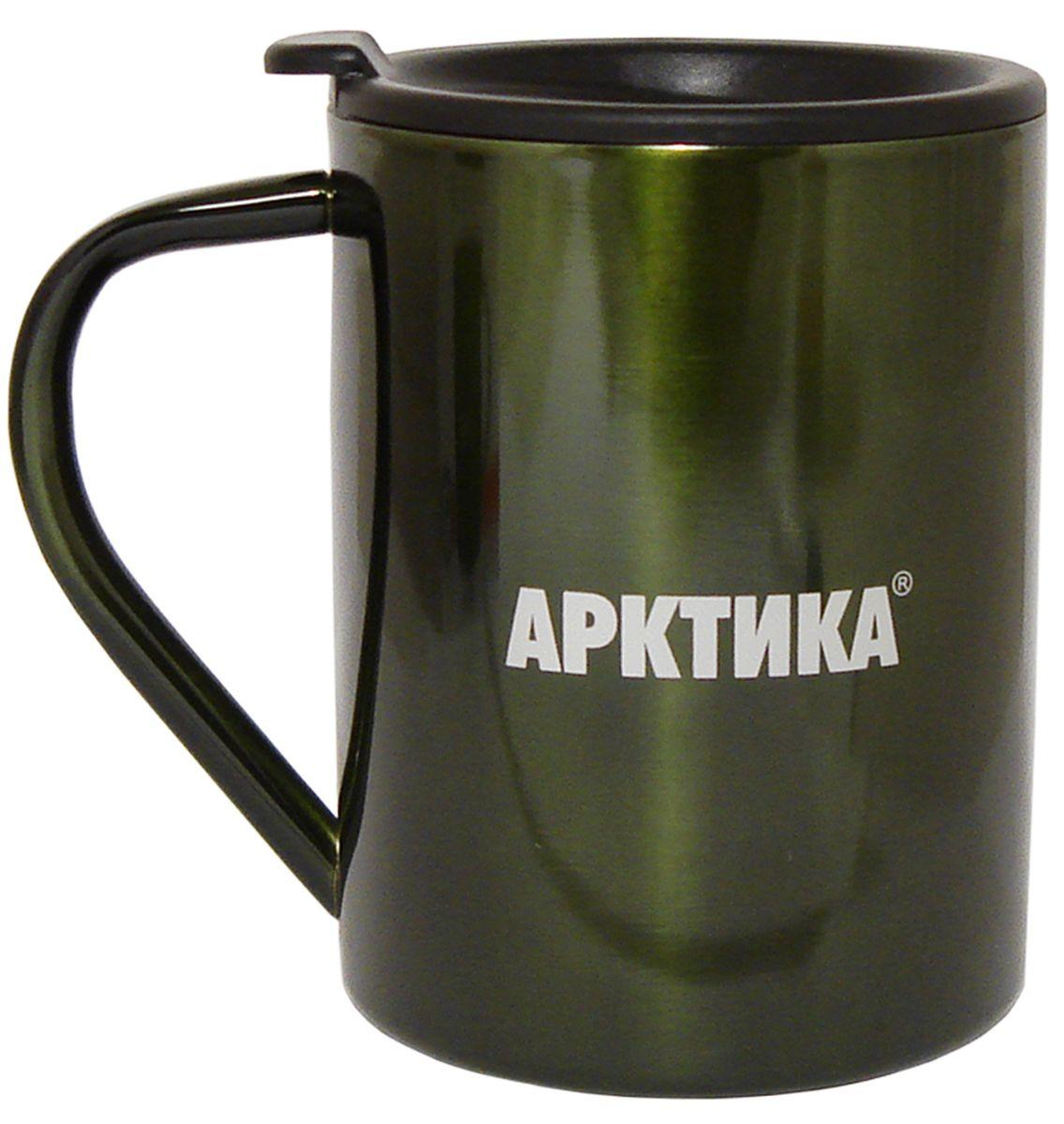 Термокружка Арктика, цвет: болотный, 0,4 л802-400 болотнаяТермокружка Арктика – универсальна, она одинаково хороша и при использовании дома, если Вы любите растягивать удовольствие от напитка и Вам не нравится, что он так быстро остывает, и на даче, где такая посуда особенно впору в силу своей прочности, долговечности и практичности – ею приятно пользоваться, ведь она не обжигает руки, ее легко мыть, можно не бояться уронить термокружку Арктика, нержавеющая сталь равнодушно выдержит любые удары судьбы. Крышка с отверстием, поставляемая в комплекте плотно фиксируется на термокружке. Помимо той очевидной выгоды, что напиток не будет разливаться, Вы можете быть уверены, что в жаркий летний день любопытные насекомые не смогут позариться на содержимоетермокружки. Русская компания Арктика выпускает термопосуду для российского рынка – Вы не платите за растаможку товара и огромные транспортные наценки, поэтому цена натермокружки Арктика более чем адекватна, что не может не радовать
