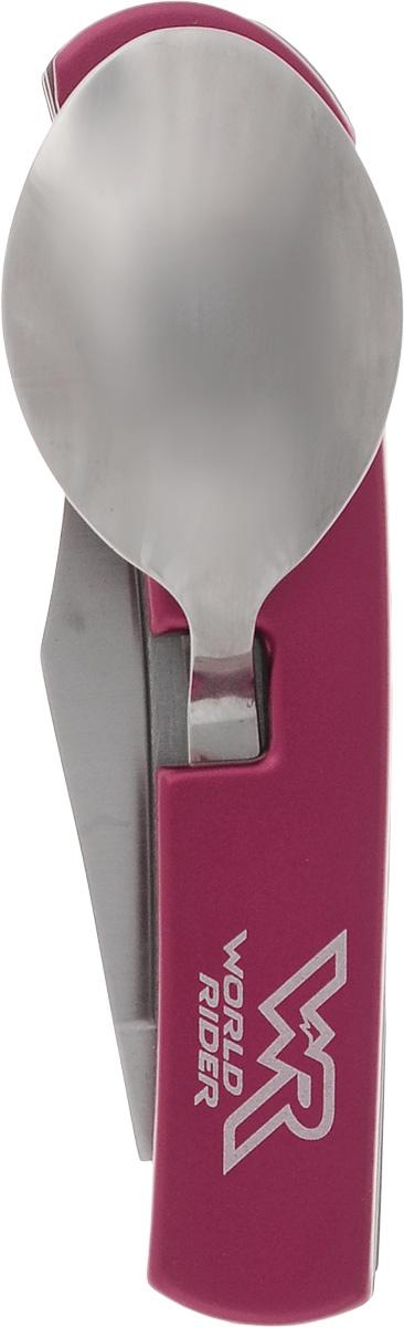 Набор туриста многофункциональный World Rider, цвет: красный, стальнойWR 5004_красныйНабор туриста в одном компактном корпусе содержит нож, ложку и вилку. На вилке расположена открывалка для бутылок. Компактный набор выполнен из высококачественной стали и позволяет существенно сэкономить место для хранения и время на поиски нужного предмета. Длина в сложенном виде: 9,5 см. Длина в разложенном виде: 17,5 см. Длина лезвия ножа: 6,5 см.