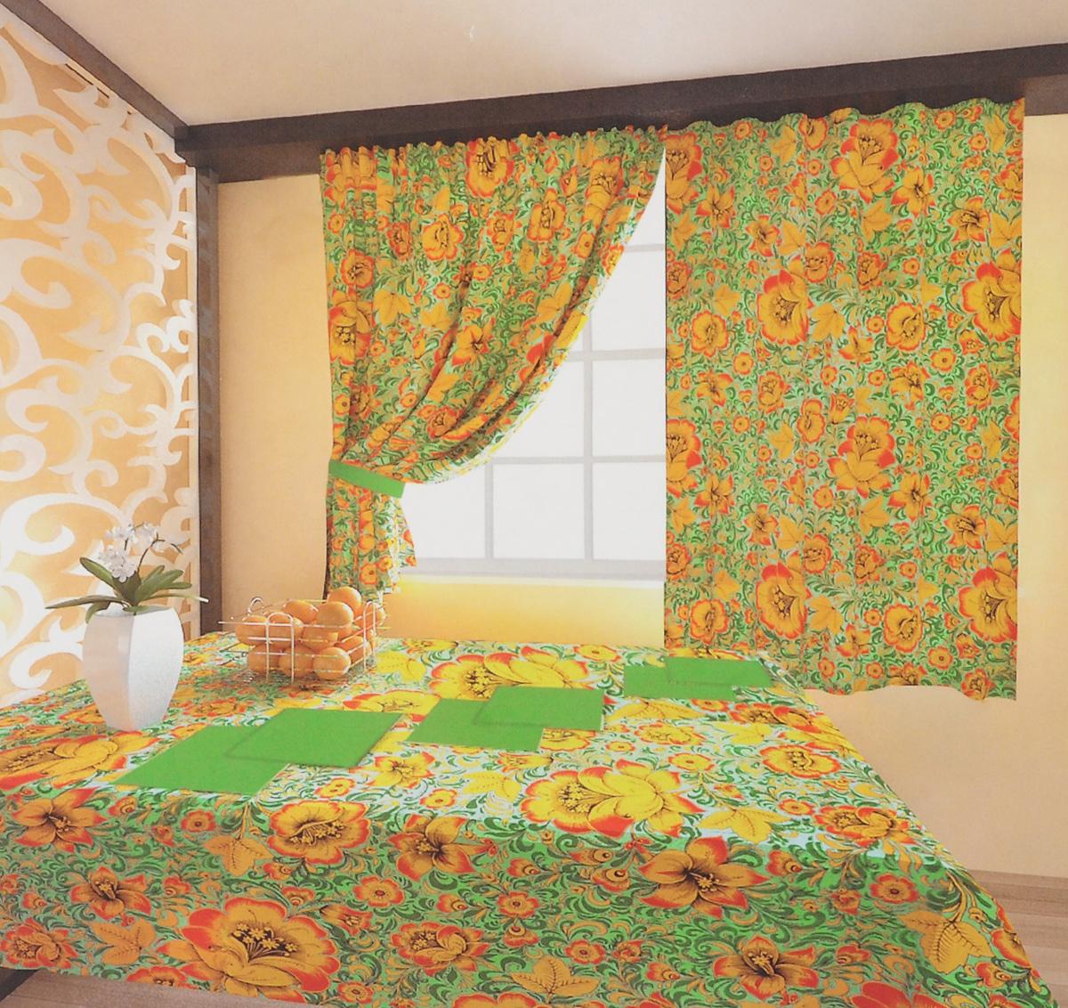 Комплект штор Zlata Korunka Хохлома, на ленте, цвет: зеленый, желтый, черный, высота 150 см. 5561055610Роскошный комплект штор Zlata Korunka Хохлома великолепно украсит любое окно. Комплект состоит из двух портьер, двух подхватов, скатерти и 6 салфеток. Изделия выполнены из 100% хлопка и декорированы изображением крупных цветов. Оригинальный цветочный принт привлечет к себе внимание и позволит шторам органично вписаться в интерьер помещения. Комплект крепится на карниз при помощи шторной ленты, которая поможет красиво и равномерно задрапировать верх. Портьеры можно красиво зафиксировать с помощью двух подхватов. Этот комплект будет долгое время радовать вас и вашу семью. Рекомендуется ручная стирка. В комплект входит: Портьера: 2 шт. Размер (ШхВ): 150 х 150 см. Скатерть: 1 шт. Размер (ШхВ): 140 х 180 см. Салфетки: 6 шт. 40 х 40 см. Подхват (с учетом петель): 2 шт. Размер: 65 х 9 см.
