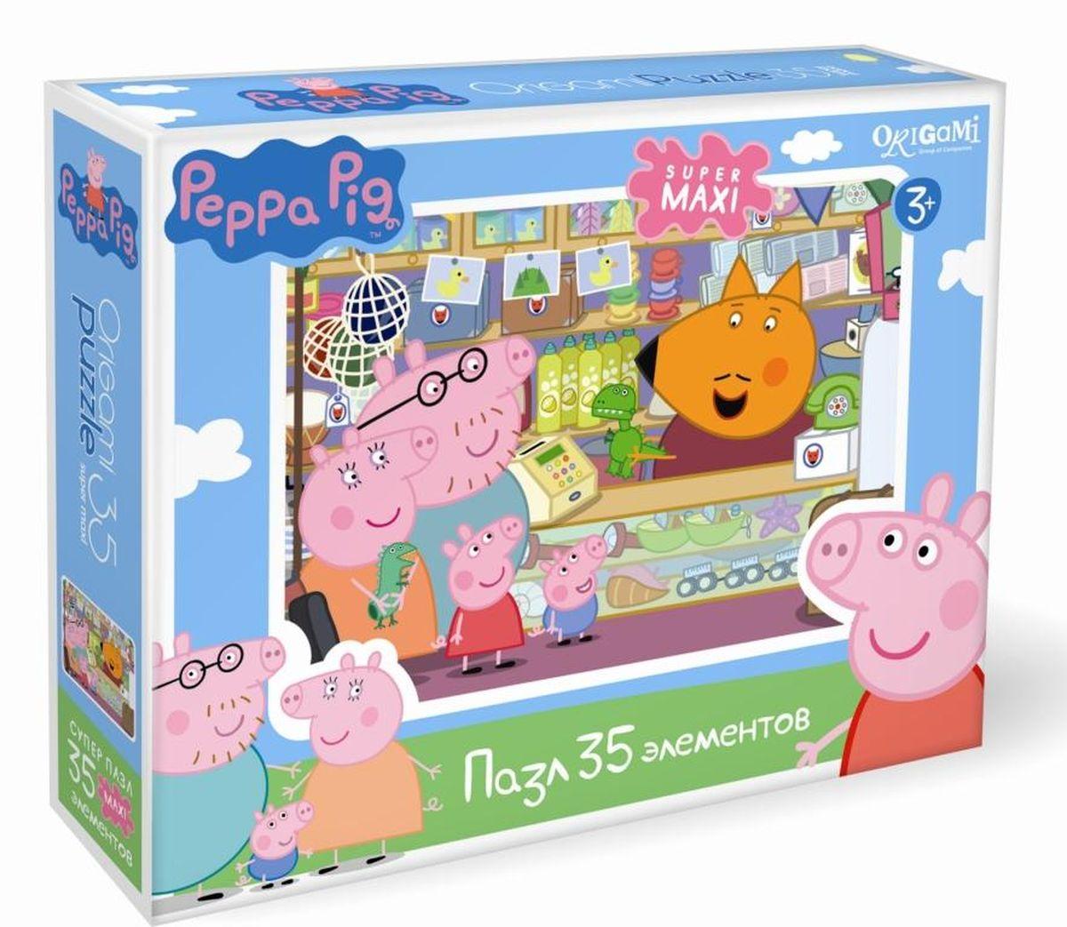 Оригами Пазл Peppa Pig Сувенирная лавка01548Пазл Peppa Pig на 35 деталей специально сделан для маленьких детей. Каждый пазл в этой серии имеет свою тематику, собери всю коллекцию! Пазл за пазлом ребёнок будет узнавать о весёлых приключениях Свинки Пеппы. Составление пазла станет развивающим досугом для малыша, т.к. тренирует пространственное мышление, моторику рук, а так же подарит хорошее настроение.