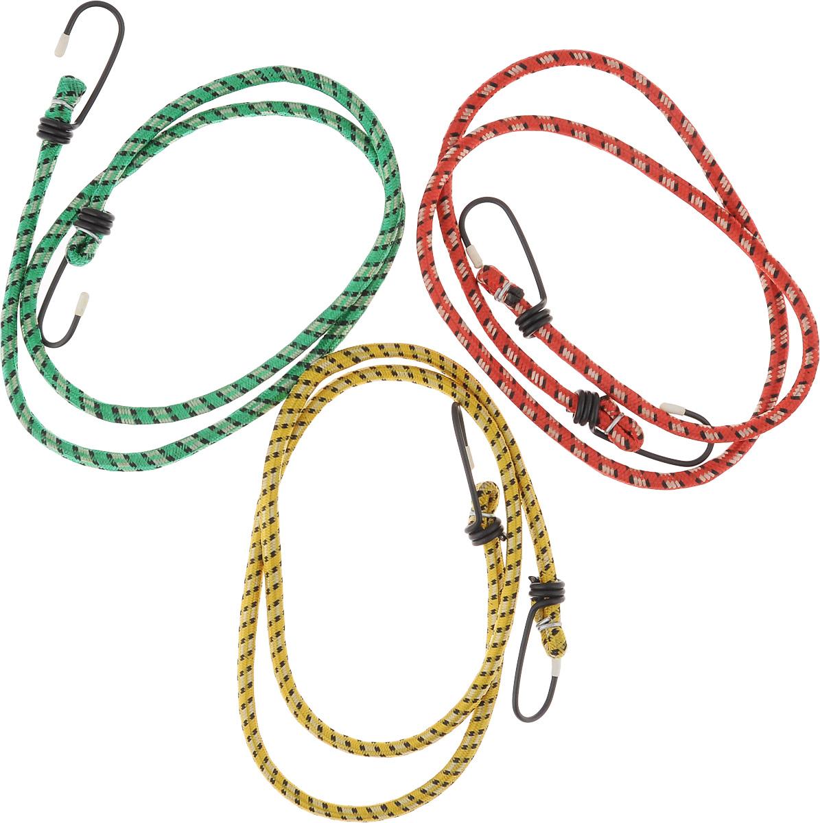 Стяжки для багажника Zipower, эластичные, цвет: красный, желтый, зеленый, 1 м, 3 штPM 4253_красный,желтый, зеленыйЭластичные стяжки для багажника Zipower позволяют надежно зафиксировать груз в открытом багажнике автомобиля, велосипеда. Прочные металлические крючки обеспечивают удобное крепление. Эластичный материал стяжек прочен, долговечен, устойчив к изнашиванию и истиранию. Длина стяжек: 1 м. Количество стяжек: 3.
