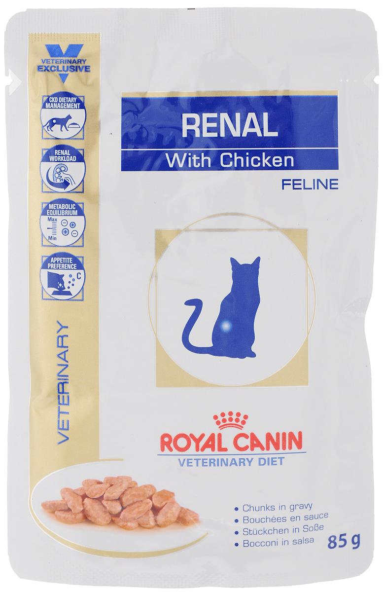 Консервы Royal Canin Renal Feline для кошек с почечной недостаточностью, с курицей, 85 г58122Консервы Royal Canin Renal Feline предназначены для кошек с почечной недостаточностью. Показания: - Хроническая почечная недостаточность (ХПН) - Профилактика рецидивов образования камней оксалата кальция у кошек с ослабленной функцией почек - Профилактика рецидивов уролитиаза (уратов, цистинов), вызванных снижением уровня рН мочи Противопоказания: - Беременность, лактация, рост Длительность курса применения: Минимальный срок назначения диетотерапии составляет 6 месяцев. По истечении этого времени необходимо повторное общее обследование. Если повреждены 3/4 нефронов почек, болезнь приобретает необратимый характер, и диетотерапию назначают для применения в течение всей жизни кошки. Особенности: - Диетологическое лечение ХПН Формула продуктов специально разработана для поддержания почечной функции при ХПН. Продукты отличаются низким содержанием фосфора, содержат комплекс антиоксидантов, жирные кислоты...