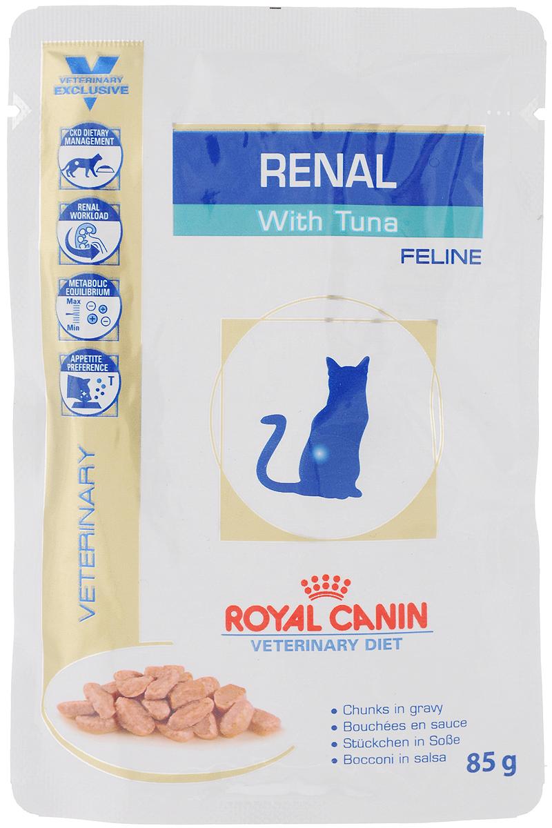 Консервы Royal Canin Renal Feline для кошек с почечной недостаточностью, с тунцом, 85 г58063Консервы Royal Canin Renal Feline предназначены для кошек с почечной недостаточностью. Показания: - Хроническая почечная недостаточность (ХПН) - Профилактика рецидивов образования камней оксалата кальция у кошек с ослабленной функцией почек - Профилактика рецидивов уролитиаза (уратов, цистинов), вызванных снижением уровня рН мочи Противопоказания: - Беременность, лактация, рост Длительность курса применения: Минимальный срок назначения диетотерапии составляет 6 месяцев. По истечении этого времени необходимо повторное общее обследование. Если повреждены 3/4 нефронов почек, болезнь приобретает необратимый характер, и диетотерапию назначают для применения в течение всей жизни кошки. Особенности: - Диетологическое лечение ХПН Формула продуктов специально разработана для поддержания почечной функции при ХПН. Продукты отличаются низким содержанием фосфора, содержат комплекс антиоксидантов, жирные...