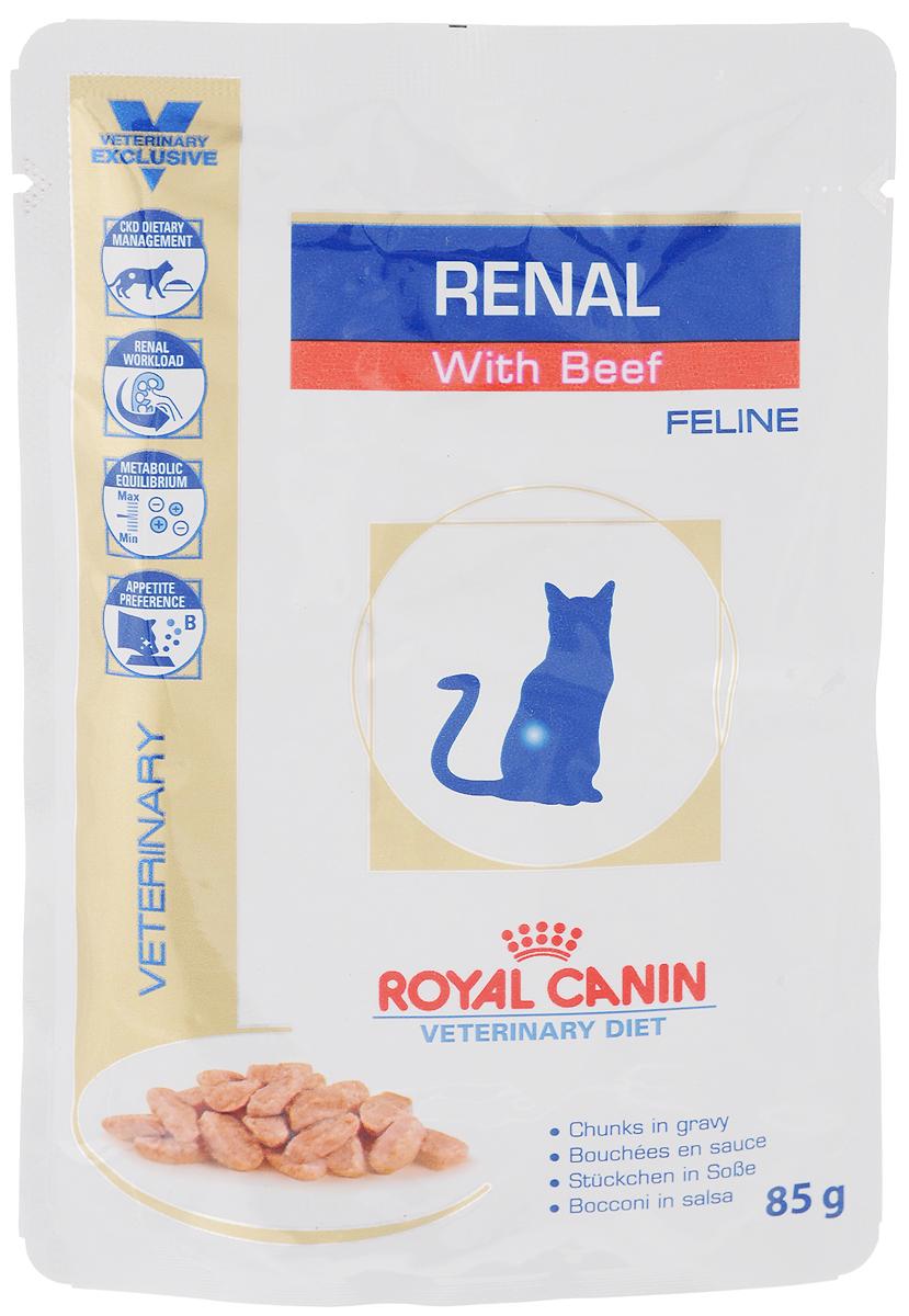 Консервы Royal Canin Renal Feline для кошек с почечной недостаточностью, с говядиной, 85 г58823Консервы Royal Canin Renal Feline предназначены для кошек с почечной недостаточностью. Показания: - Хроническая почечная недостаточность (ХПН) - Профилактика рецидивов образования камней оксалата кальция у кошек с ослабленной функцией почек - Профилактика рецидивов уролитиаза (уратов, цистинов), вызванных снижением уровня рН мочи Противопоказания: - Беременность, лактация, рост Длительность курса применения: Минимальный срок назначения диетотерапии составляет 6 месяцев. По истечении этого времени необходимо повторное общее обследование. Если повреждены 3/4 нефронов почек, болезнь приобретает необратимый характер, и диетотерапию назначают для применения в течение всей жизни кошки. Особенности: - Диетологическое лечение ХПН Формула продуктов специально разработана для поддержания почечной функции при ХПН. Продукты отличаются низким содержанием фосфора, содержат комплекс антиоксидантов, жирные кислоты...