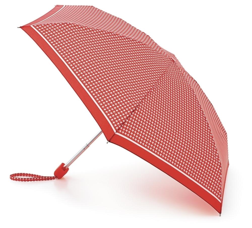 Зонт женский Fulton, механический, 5 сложений, рисунок: красный горох. L501-2237L501-2237 RedPuppytoothПрочный, необыкновенно компактный зонт, который с легкостью поместится в маленькую сумочку. Удобный плоский чехол. Облегченный алюминиевый каркас с элементами из фибергласса. Ветроустойчивая конструкция. Размеры зонта в сложенном виде 15смх6смх3см, диаметр купола 87 см.