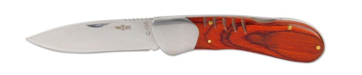 Нож складной Ножемир, 8,8 смC-155 НожемирНебольшой складной нож C-155 Ножемир с широким лезвием, хорошо лежит в руке и удобен, как при работе на кухне, так и на стоянке в лагере. Сталь 65х13 прекрасно держит заточку. Рукоять выполнена из стабилизированной древесины. Фиксатор Back lock.