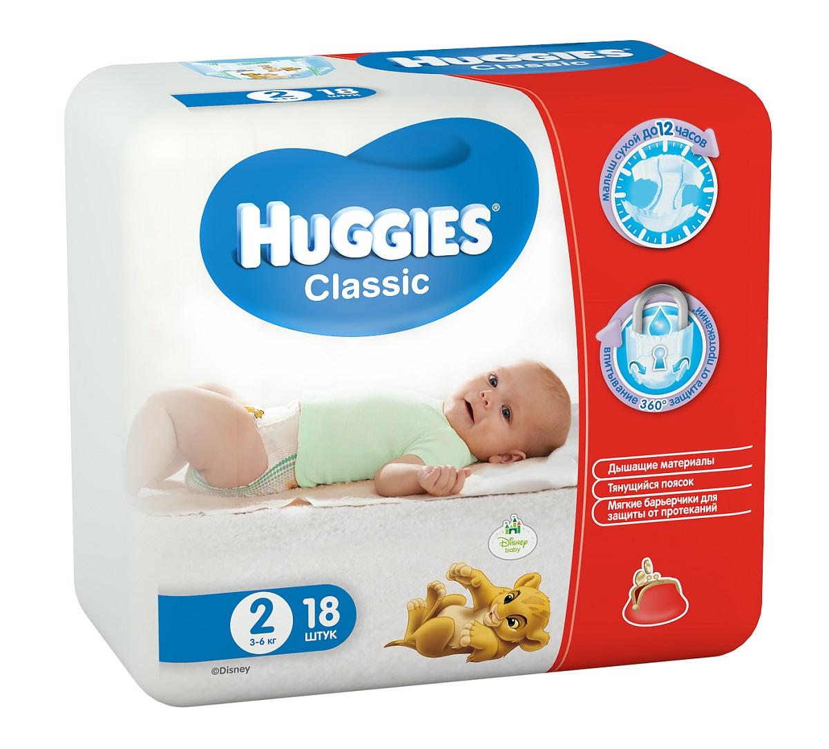 Huggies Подгузники Classic 3-6 кг (размер 2) 18 шт9401021Вместе с подгузниками Huggies Classic с мягкой дышащей поверхностью, вы можете быть уверены в сухости кожи своего малыша. У подгузников Huggies Classic есть улучшенная распределяющая салфетка, которая быстро впитывает при любом положении малыша, равномерно распределяя жидкость, что препятствует образованию комков внутри подгузника и обеспечивает великолепную сухость и защиту кожи малыша. Мягкие барьерчики, предотвращают протекания вокруг ножек малыша. Тянущийся поясок, защитит малыша от протекания по спинке. Характеристики: Весовая категория: 3-6 кг. Размер: 2.