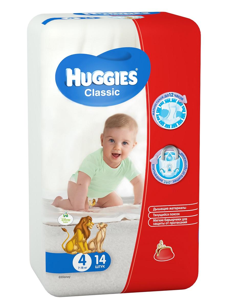 Huggies Подгузники Classic 7-18 кг (размер 4) 14 шт9401041Вместе с подгузниками Huggies Classic с мягкой дышащей поверхностью, вы можете быть уверены в сухости кожи своего малыша. У подгузников Huggies Classic есть улучшенная распределяющая салфетка, которая быстро впитывает при любом положении малыша, равномерно распределяя жидкость, что препятствует образованию комков внутри подгузника и обеспечивает великолепную сухость и защиту кожи малыша. Мягкие барьерчики, предотвращают протекания вокруг ножек малыша. Тянущийся поясок, защитит малыша от протекания по спинке.