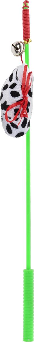 """Дразнилка-удочка для кошек V.I.Pet """"Ботинок"""", с колокольчиком, цвет: зеленый, белый, черный ST-106_зеленый,белый"""