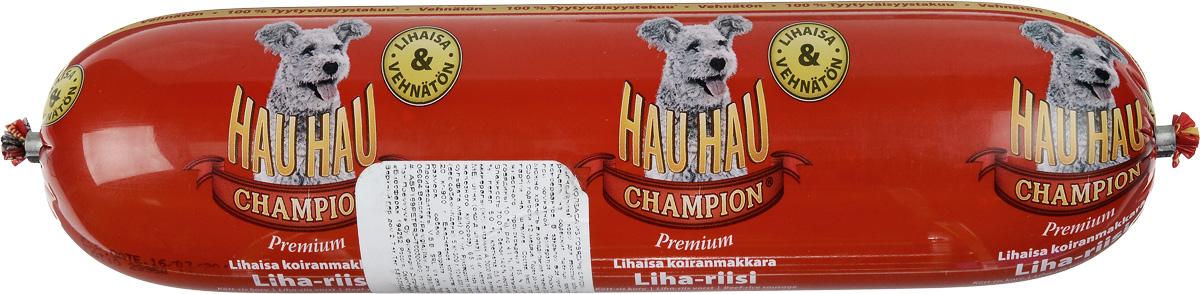 Колбаса для собак Hau-Hau, из говядины с рисом, 800 г81197Колбаса для собак Hau-Hau содержит большое количество мяса и подходит для собак любых размеров. Колбаса изготовлена из свежего мяса, содержание которого не менее 95%. Как связующее вещество используется мелкомолотый рис, продукт также обогащен витаминами и минералами. Колбаса не содержит пшеницу, пищевые красители, консерванты, кровь, рыбу и свинину. До вскрытия упаковки можно хранить при комнатной температуре. Открытый продукт следует хранить в холодильнике в течение 2-3 дней. Состав: мясо и продукты животного происхождения 95% (из которых говядина 10%), рис 4,1%, витамины и минералы. Пищевая ценность: влажность 70%, белки 14,0%, масла и жиры 10%, прокаленный остаток 5%, клетчатка 0,5%. Добавленные витамины и минералы: витамин A 3000 I.U., витамин D3 300 I.U., цинк (оксид цинка) 16 мг, железо (сульфат пенгидрат железа) 6,5 мг, медь (сульфат пенгидрат меди) 0,1 мг. Товар сертифицирован.