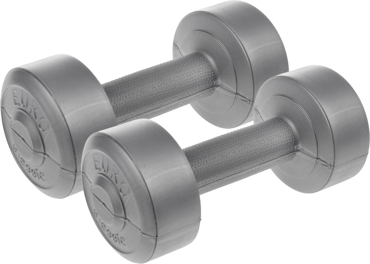Гантели виниловые Euro-Classic, 1 кг, 2 штГв1Гантели Euro-Classic идеально подходят как для тренировок дома, так и в офисе. Гантели помогают укрепить мышцы рук, грудной клетки, верхней части спины и плеч. Внешнее покрытие изделий выполнено из прочного ПВХ, наполнитель - композитная смесь цемента и песка. Вес одной гантели: 1 кг.