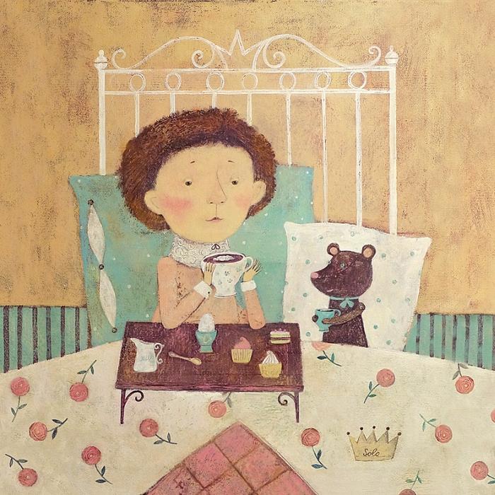 Открытка Кофе в постель. Автор Светлана СоловьеваSvS10-021Оригинальная дизайнерская открытка «Кофе в постель» выполнена из плотного матового картона. На лицевой стороне расположена репродукция работы художницы Светланы Соловьевой с принцем, пьющим утренний кофе. Такая открытка станет великолепным дополнением к подарку или оригинальным почтовым посланием, которое, несомненно, удивит получателя своим дизайном и подарит приятные воспоминания.