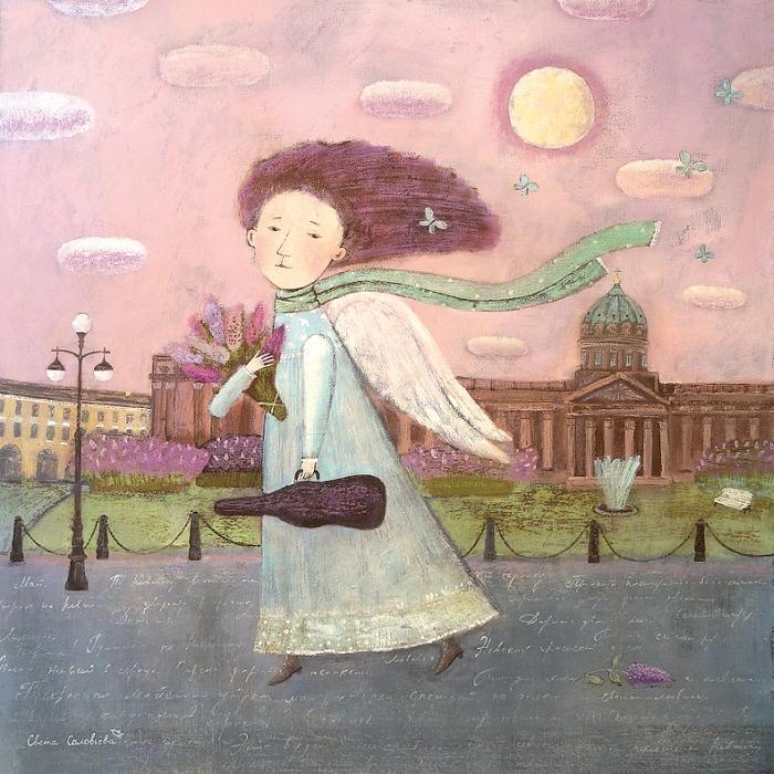 Открытка Майский ангел. Автор Светлана СоловьеваSvS10-022Оригинальная дизайнерская открытка «Майский ангел» выполнена из плотного матового картона. На лицевой стороне расположена репродукция работы художницы Светланы Соловьевой с ангелом, идущим по улице Петербурга. Такая открытка станет великолепным дополнением к подарку или оригинальным почтовым посланием, которое, несомненно, удивит получателя своим дизайном и подарит приятные воспоминания.