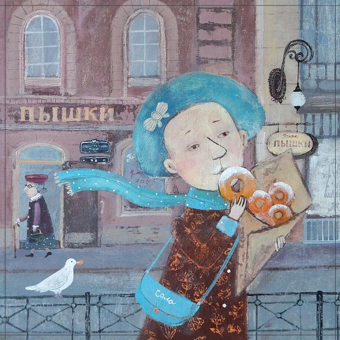 Открытка Питерские пышечки. Автор Светлана СоловьеваSvS10-023Оригинальная дизайнерская открытка «Питерские пышечки» выполнена из плотного матового картона. На лицевой стороне расположена репродукция работы художницы Светланы Соловьевой с девочкой, кушающей пышки. Такая открытка станет великолепным дополнением к подарку или оригинальным почтовым посланием, которое, несомненно, удивит получателя своим дизайном и подарит приятные воспоминания.
