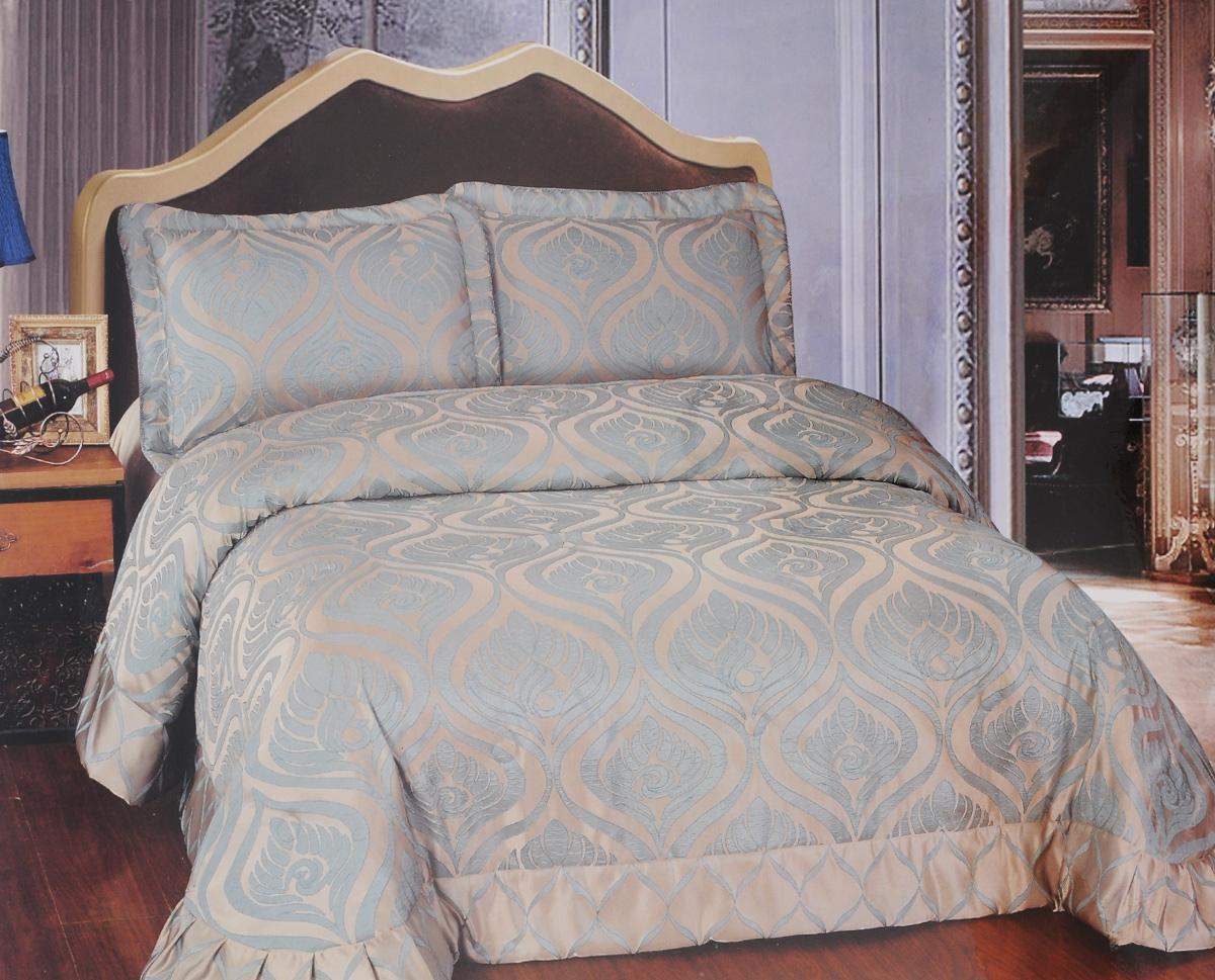 Комплект для спальни Arya Mirabelle: покрывало 250 х 260 см, 2 наволочки 50 х 70 см, цвет: бежевый, голубойTR1001111Изысканный комплект для спальни Arya Mirabelle состоит из покрывала и двух наволочек. Изделия выполнены из высококачественного полиэстера, легкие, прочные и износостойкие. Полиэстер - это вид ткани, который состоит из полиэфирных волокон. Ткани из полиэстера - легкие, прочные и износостойкие. Свойства полиэстера: - не мнется. - легко стирается. - после стирки быстро сохнет. - не растягивается и не садится. Комплект Arya Mirabelle - это отличный способ придать спальне уют и комфорт. Размер покрывала: 250 х 260 см. Размер наволочки: 50 х 70 см.