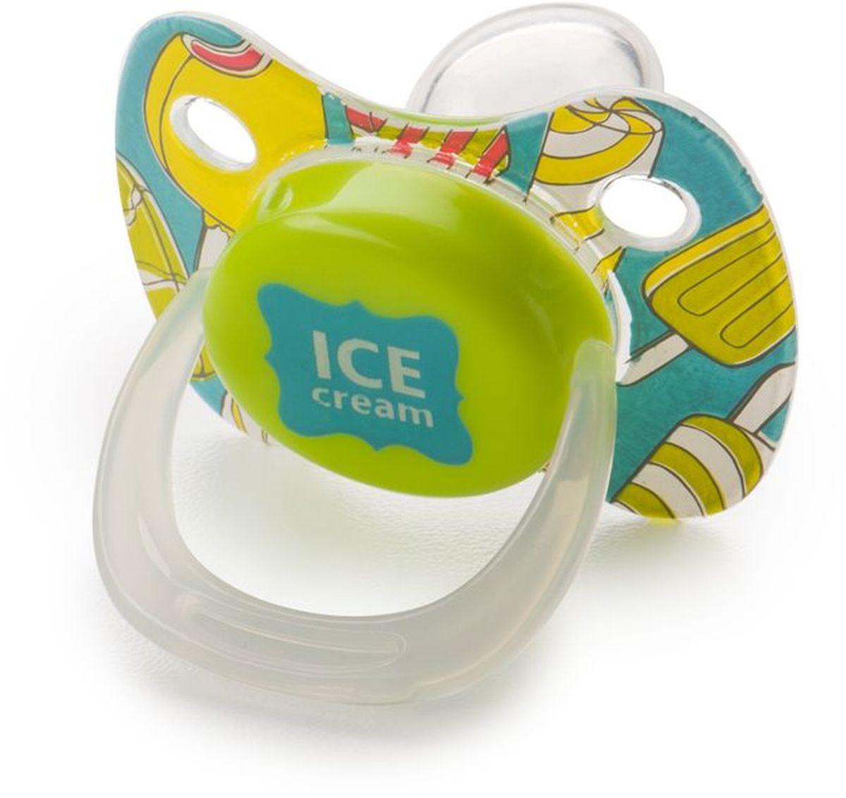 Happy Baby Соска-пустышка силиконовая с колпачком Мороженое от 12 месяцев