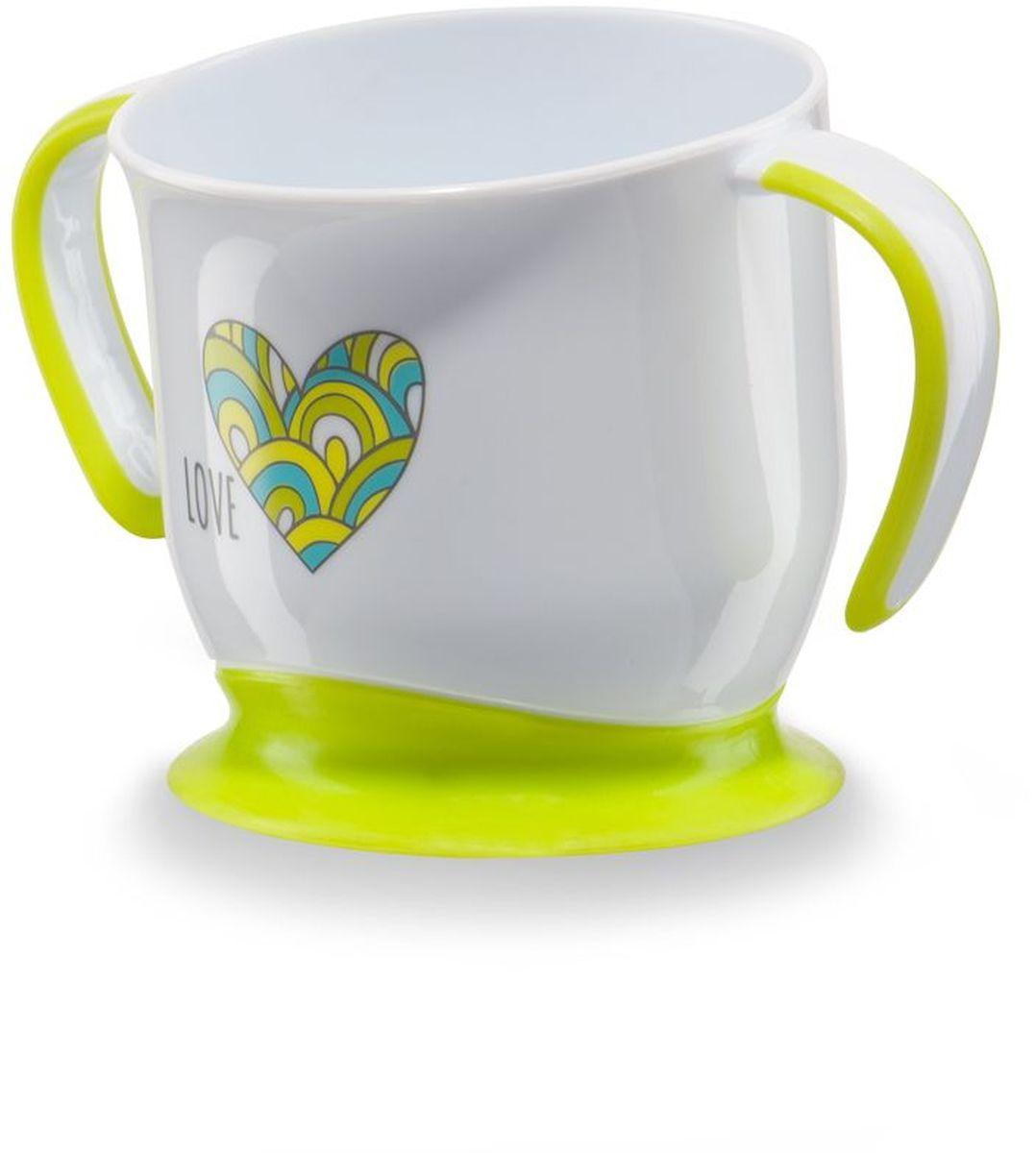 Happy Baby Кружка на присоске цвет белый салатовый15022Кружка на присоске Happy Baby - эргономичная форма создана специально для удобства питья, ручки с анитискользящим покрытием, нескользящее дно с присоской.
