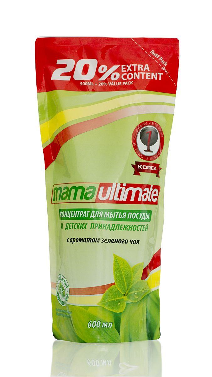 Гель для мытья посуды и детских принадлежностей Mama Ultimate, с ароматом зеленого чая, сменная упаковка, 600 мл43625Для мытья посуды, овощей и фруктов, для мытья детских принадлежностей, на основе природных минералов, классическая боразлагаемая формула, 3х концентрация, не сушит руки, на основе природных минералов, устраняет неприятные запахи