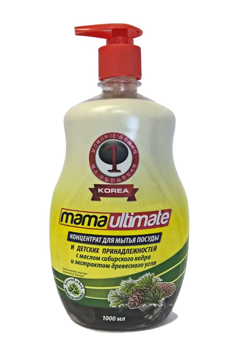 Гель для мытья посуды и детских принадлежностей Mama Ultimate, с ароматом кедра, 1000 мл49337Для мытья посуды, овощей и фруктов, для мытья детских принадлежностей, на основе природных минералов, классическая боразлагаемая формула, 3х концентрация, не сушит руки, на основе природных минералов, устраняет неприятные запахи