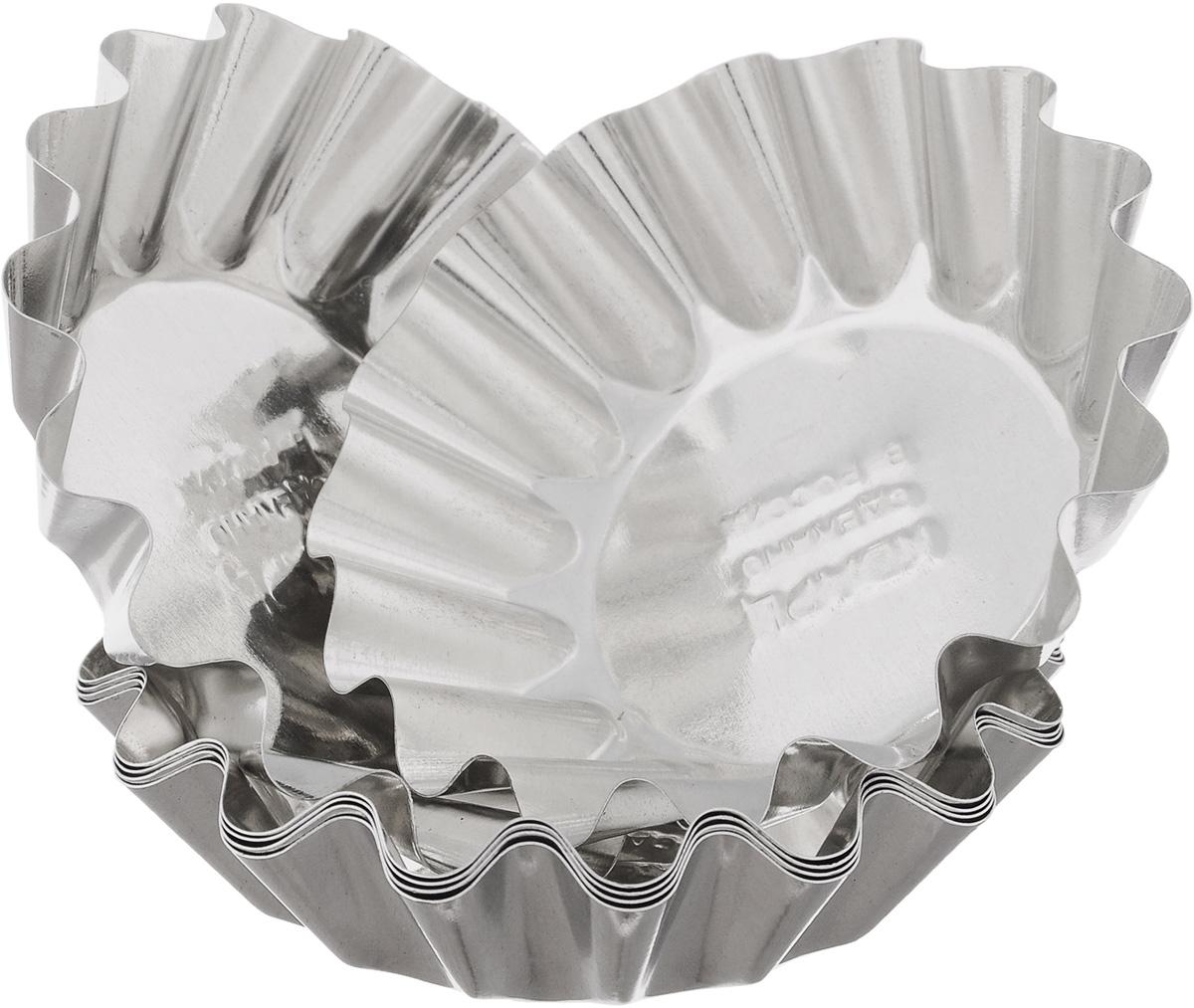 Набор форм для выпечки Кварц, диаметр 8,3 см, 6 штКФ-01.006Набор Кварц состоит из шести форм, выполненных из белой жести. Формы предназначены для выпечки и приготовления желе. Стенки изделий рельефные. С набором форм Кварц вы всегда сможете порадовать своих близких оригинальной выпечкой. Диаметр форм (по верхнему краю): 8,3 см. Высота форм: 2,1 см.