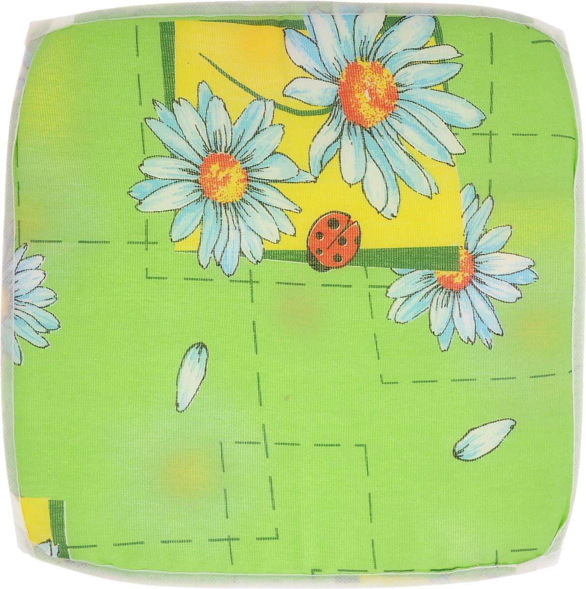 Подушка на стул Eva Ромашка, цвет: зеленый, голубой, 34 х 34 смЕ06_зеленый, божья коровкаПодушка на стул Eva Ромашка, выполненная из хлопка с наполнителем из поролона, легко крепится на стул с помощью завязок. Изделие оформлено изображением ромашек. Рекомендации по уходу: Деликатная стирка при температуре воды до 30°С. Отбеливание, барабанная сушка, химчистка запрещены. Рекомендуется глажка при температуре подошвы утюга до 150°С. Размер подушки: 34 х 34 х 1 см.