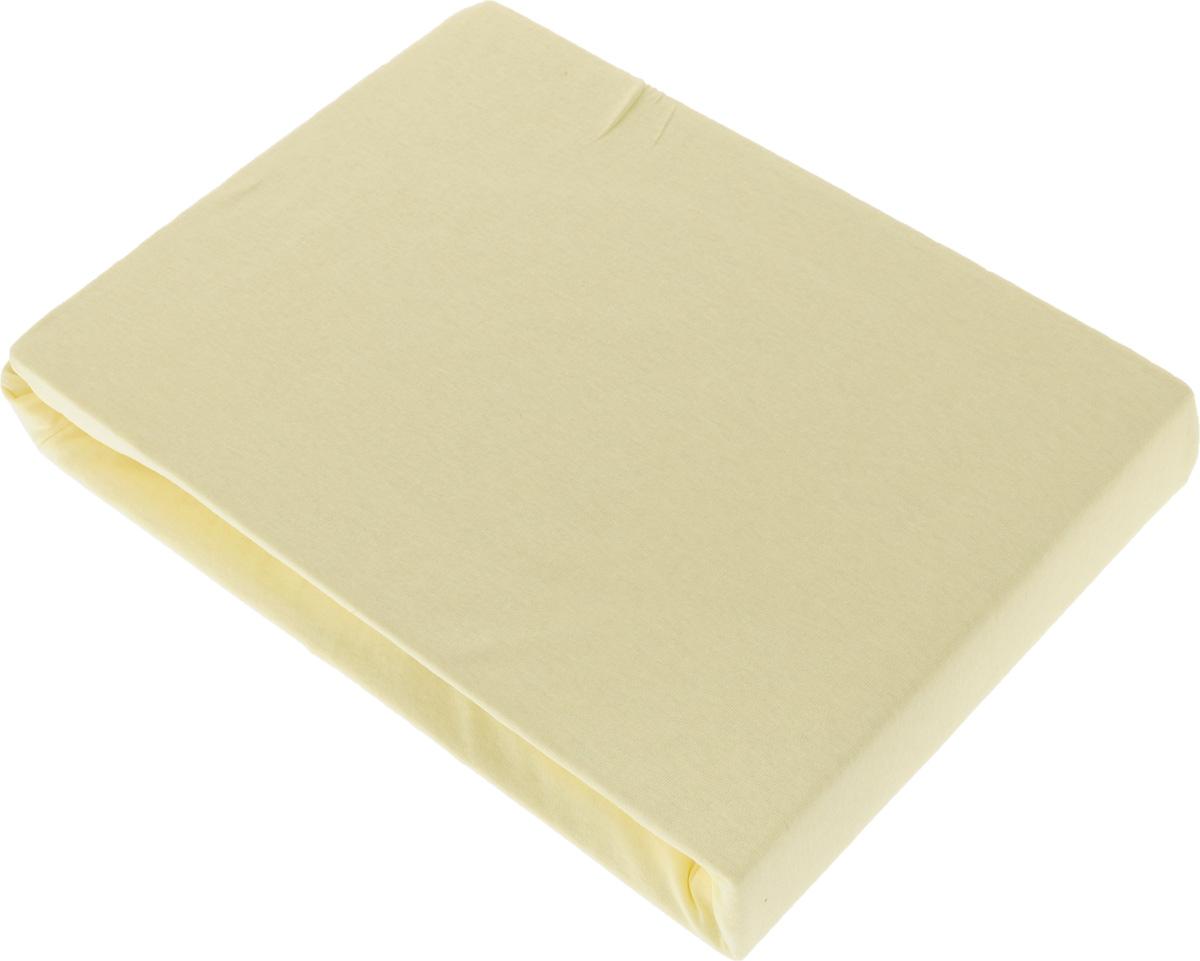 Простыня на резинке Tete-a-Tete, цвет: лимон, 160 х 200 смТ-ПР-6013_лимонПростыня Tete-a-Tete выполнена из трикотажа (100% хлопок). Высочайшее качество материала гарантирует безопасность не только взрослых, но и самых маленьких членов семьи. Изделие прошито резинкой по всему периметру, что обеспечивает более комфортный отдых, так как оно прочно удерживается на матрасе и избавляет от необходимости часто поправлять простыню. Простыня гармонично впишется в интерьер вашей спальни и создаст атмосферу уюта и комфорта. Рекомендации по уходу: Деликатная стирка при температуре воды до 40°С. Отбеливание, химчистка запрещены. Рекомендуется глажка.
