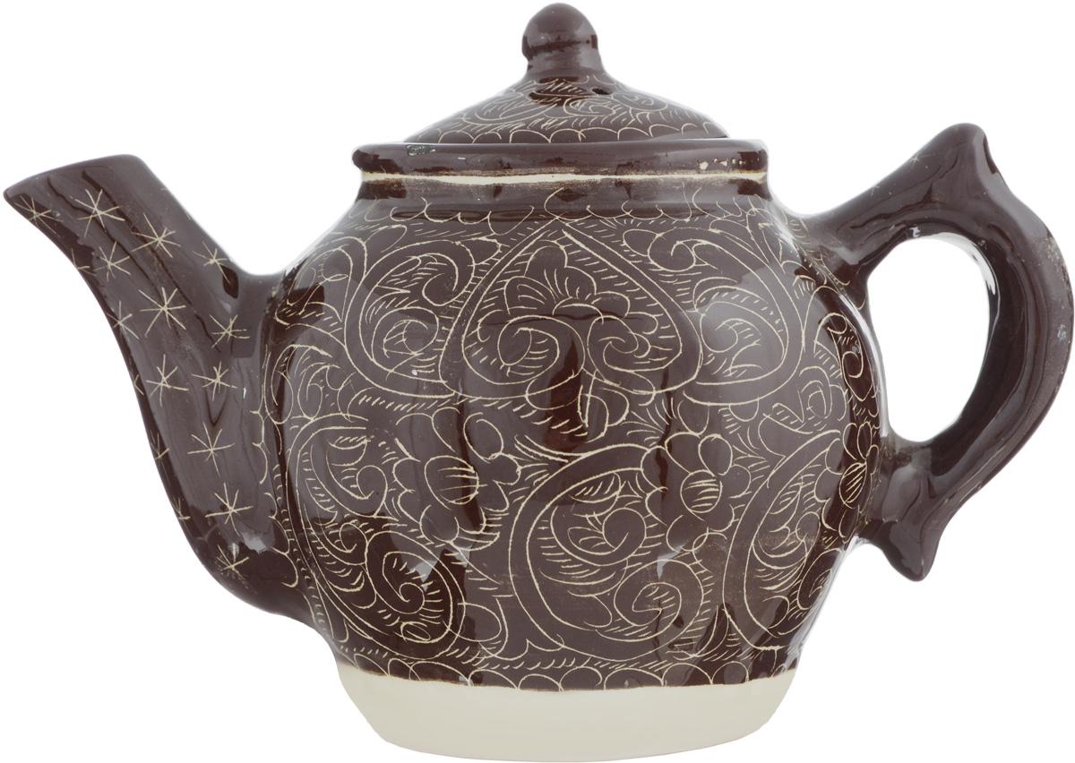Чайник заварочный Sima-land Риштан, цвет: коричневый, 600 мл1335873Заварочный чайник Sima-land Риштан изготовлен из высококачественной керамики и оформлен ярким рисунком. Такой чайник идеально подойдет для заваривания чая. Он хорошо держит температуру, что способствует более полному раскрытию цвета, аромата и вкуса чайного букета. Изделие прекрасно дополнит сервировку стола к чаепитию и станет его неизменным атрибутом. Диаметр (по верхнему краю): 7,5 см. Высота чайника (без учета крышки): 12 см.