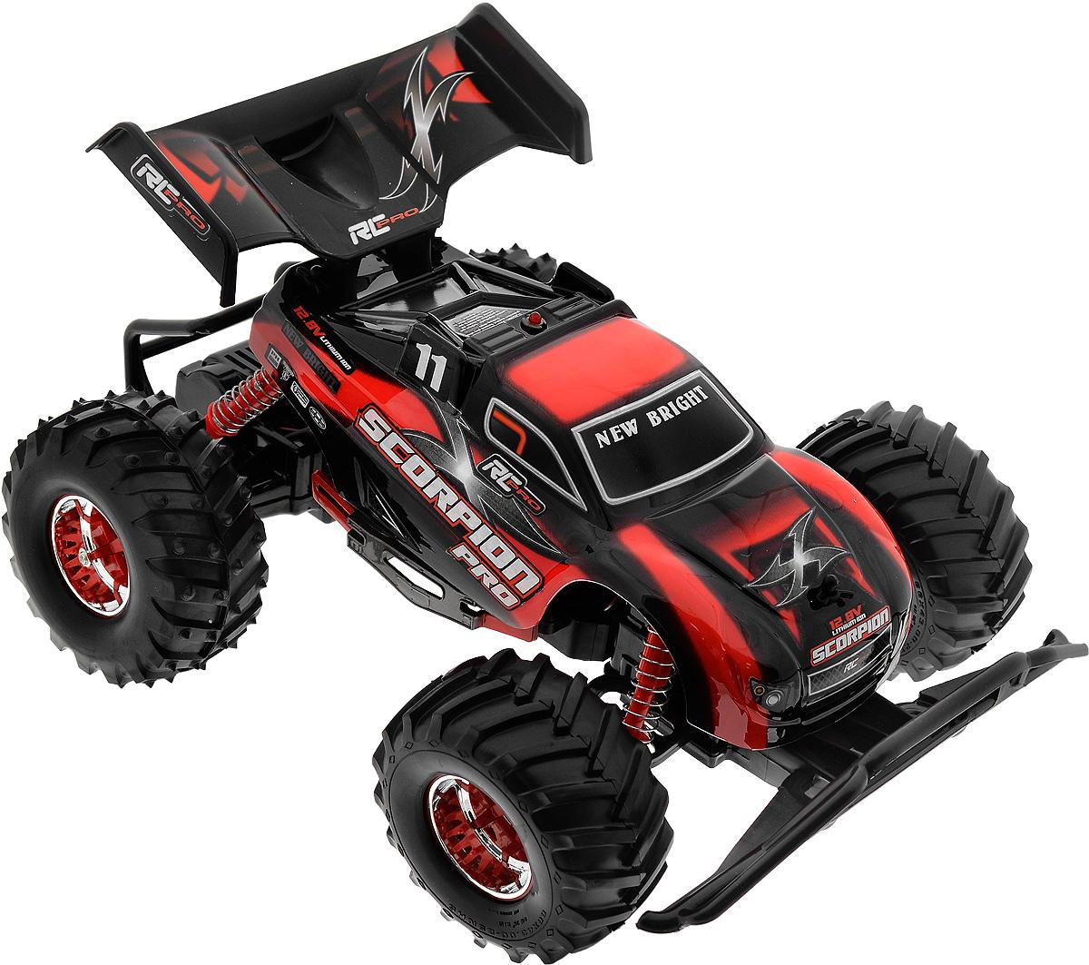 New Bright Радиоуправляемая модель Scorpion цвет красный масштаб 1:1081020_красныйМашина на радиоуправлении New Bright Scorpion изготовлена из пластика с металлическими элементами. Большие прорезиненные колеса игрушки обеспечивают плавный ход. Юные гонщики оценят эту машину за прекрасные технические характеристики и свободу передвижений. Моделью легко управлять и любая гонка принесет удовольствие. Управление машинкой происходит с помощью удобного пульта. На пульте управления расположены 4 кнопки для автоматического выбора частоты управления. Автомобиль двигается вперед-назад, влево-вправо. Радиоуправляемые игрушки способствуют развитию координации движений, моторики и ловкости. Ваш ребенок часами будет играть с моделью, придумывая различные истории и устраивая соревнования. Машина работает от сменного аккумулятора (входит в комплект). Зарядка осуществляется при помощи зарядного устройства (входит в комплект). Для работы пульта управления необходимы 2 батарейки типа АА (входят в комплект).