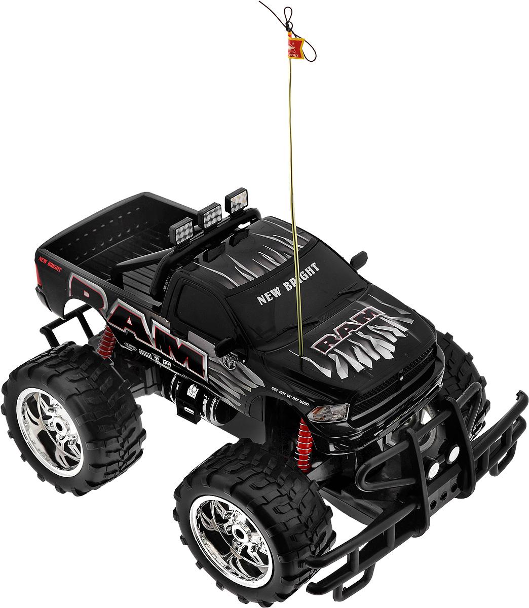 New Bright Радиоуправляемая модель Ram цвет черный61087RРадиоуправляемая модель New Bright Ram станет отличным подарком любому мальчику! Все дети хотят иметь в наборе своих игрушек ослепительные, невероятные и модные автомобили на радиоуправлении. Тем более, если это автомобиль известной марки с проработкой всех деталей, удивляющий приятным качеством и видом. Автомобиль обладает неповторимым провокационным стилем и спортивным характером. Потрясающая маневренность, динамика и покладистость - отличительные качества этой модели. Возможные движения: вперед, назад, вправо, влево. Колеса машины прорезинены и обеспечивают плавный ход, машинка не портит напольное покрытие. Радиоуправляемые игрушки способствуют развитию координации движений, моторики и ловкости. Модель работает от сменного аккумулятора (входит в комплект). Зарядное устройство также входит в комплект. Пульт управления работает от 2 батареек типа АА (входят в комплект).