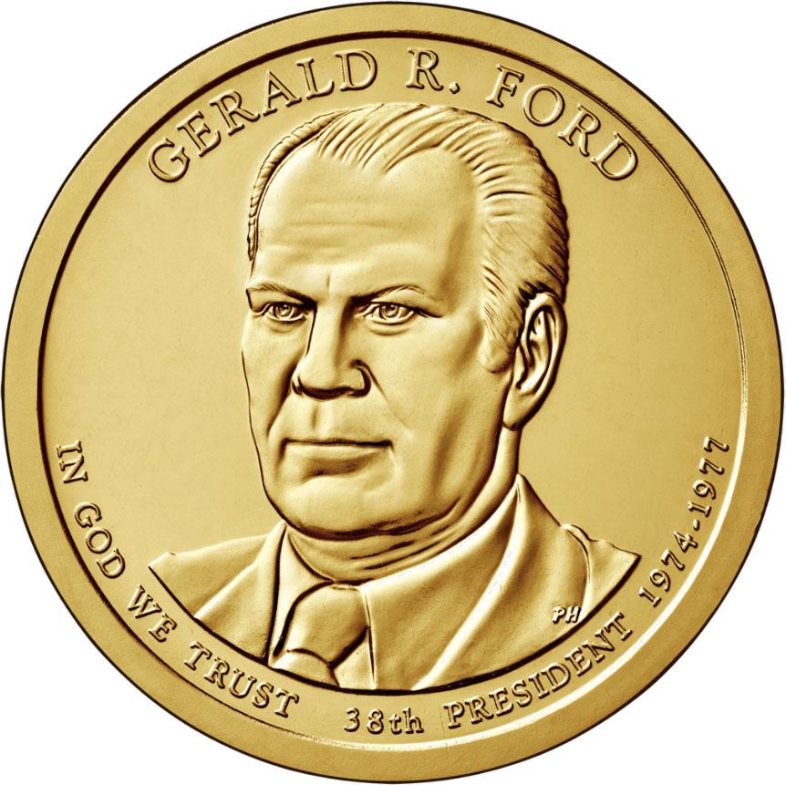 Монета номиналом 1 доллар Президенты. Джеральд Рудольф Форд. США, 2016 год791504Диаметр 26,5 мм. Вес: 8,1 гр. Материал: Медь с марганцево-латунным покрытием.