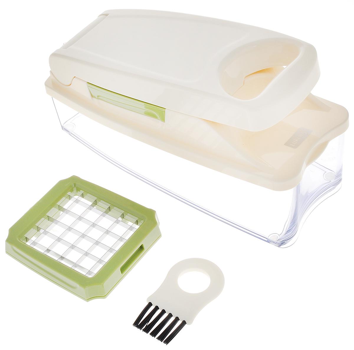 Слайсер Lurch10219Слайсер Lurch - это многофункциональный прибор, который поможет быстро нарезать фрукты и овощи. В комплекте: - пластиковый контейнер-поддон для нарезанных продуктов, - крышка со 2 съемными лезвиями и рабочей частью-прессом, - щетка для очистки. Лезвия выполнены из высококачественной нержавеющей стали, корпус изготовлен из пластика. Слайсер очень прост в использовании. Продукт, который вы собираетесь измельчить, положите в центр лезвия- решетки. Надавите на рабочую часть слайсера рукой. Острыми лезвиями продукт будет разрезан на ровные части. Если вам необходимы ингредиенты, измельченные кубиками, то нарежьте их предварительно на ломтики. Для удобства чистки рифленой рабочей части крышки предусмотрена щетка, с помощью которой вы легко удалите остатки пищи. Дно контейнера оснащено силиконовыми вставками для меньшего скольжения. Преимущества слайсера: - точная и аккуратная нарезка, - не мнет даже мягкие...