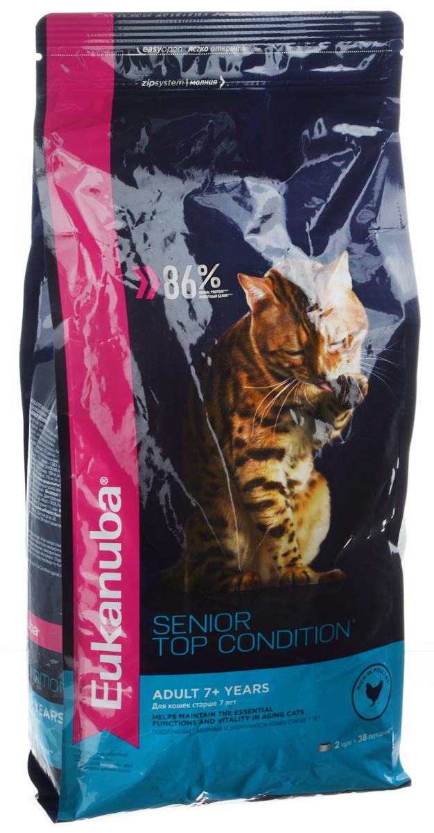 Корм сухой Eukanuba Senior Top Condition для пожилых кошек, с домашней птицей, 2 кг10144098Сухой корм Eukanuba Senior Top Condition - полнорационный сухой корм для кошек старше 7 лет. Корм поддерживает здоровье и энергичность пожилых кошек. 100% сбалансированный корм, поддерживает здоровье кошки по шести ключевым признакам: 1. Способствует поддержанию иммунной системы за счет антиоксидантов. 2. Способствует поддержанию здоровой кишечной микрофлоры за счет пребиотиков и клетчатки. 3. Разработан специально для поддержания здоровья мочевыводящий путей. 4. Белки животного происхождения способствуют росту и сохранению мышечной массы. Содержит 88% животного белка (от общего уровня белка). 5. Способствует сохранению здоровья кожи и блестящей шерсти, благодаря рыбьему жиру и оптимальному соотношению омега-6 и омега-3 жирных кислот. 6. Поддерживает здоровье зубов. Состав: белки животного происхождения (домашняя птица 44 %, источник натурального таурина), жир животный, пшеница, ячмень, пшеничная мука, рис,...